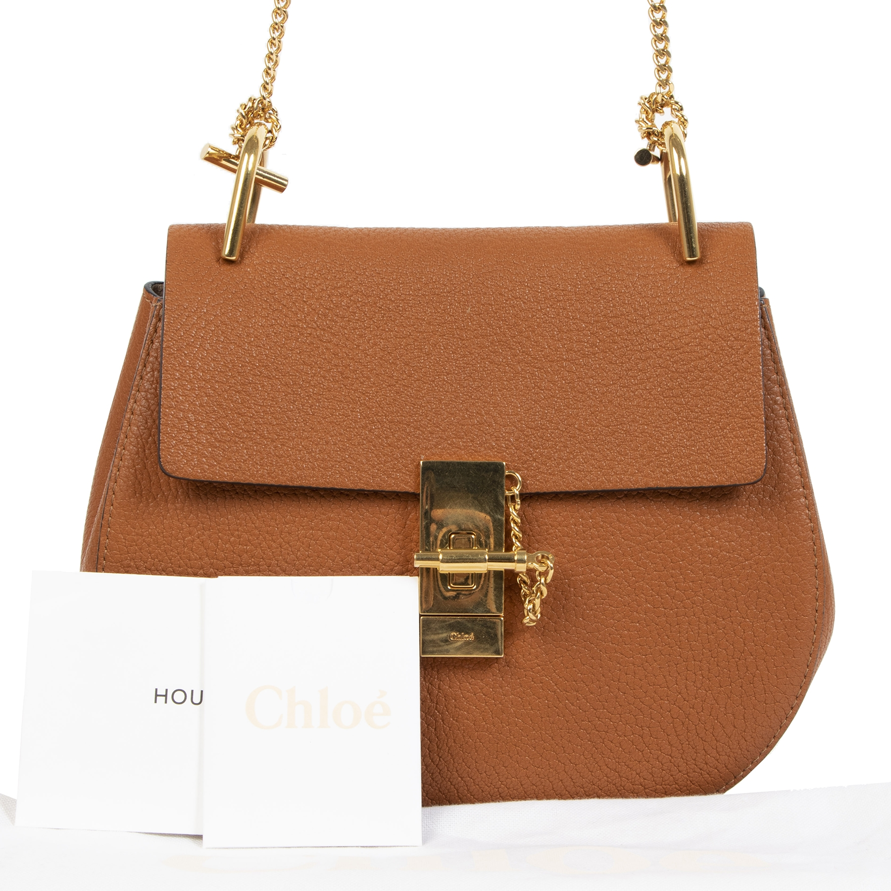Chloé Tan Grained Calfskin Medium Drew Bag
