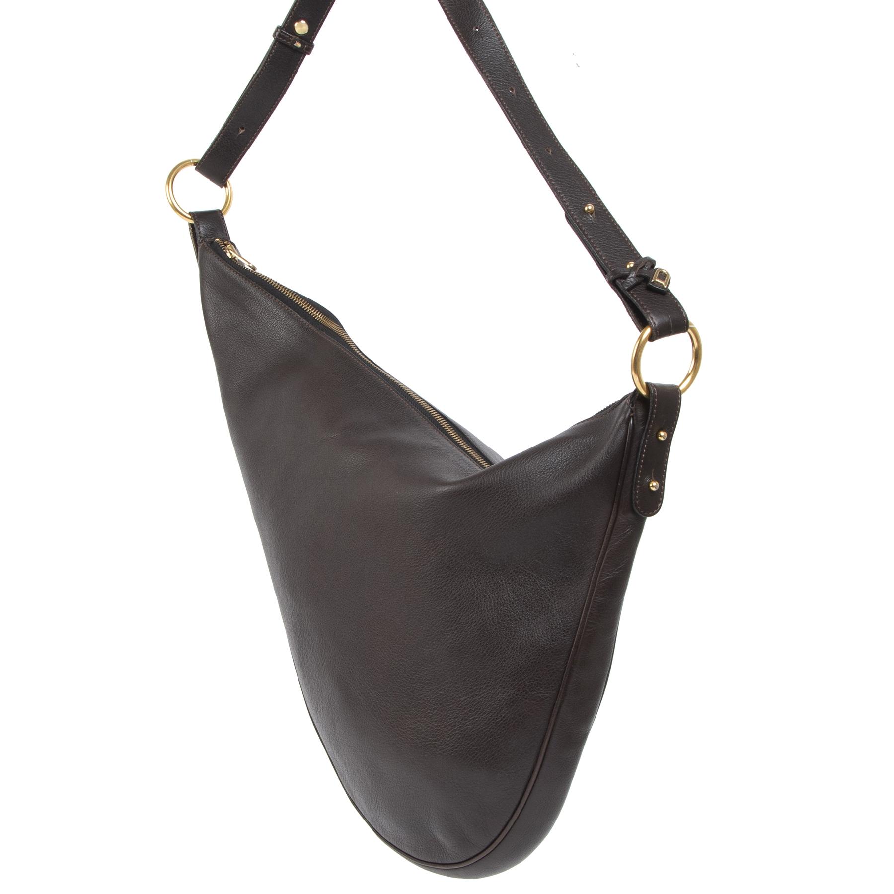 Authentieke Tweedehands Delvaux Chocolate Brown Sling Leather Bag juiste prijs veilig online shoppen luxe merken webshop winkelen Antwerpen België mode fashion