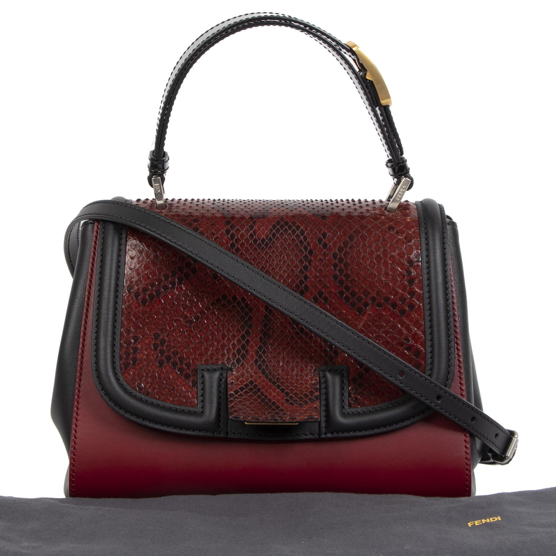 Authentieke tweedehands Fendi Silvana Python Top Handle Bag aan de juiste prijs online veilig