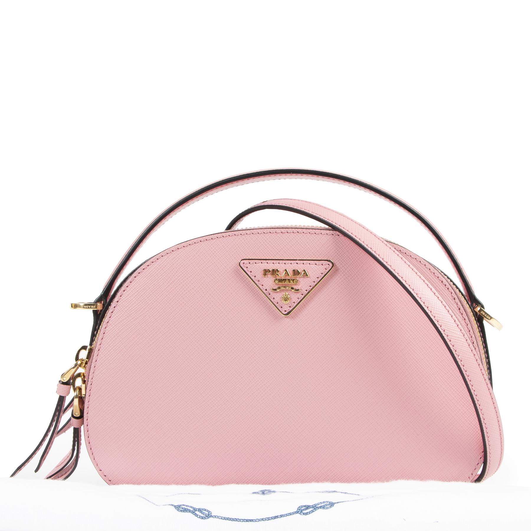 Authentieke Tweedehands Prada Pink Saffiano Leather Odette Bag juiste prijs veilig online shoppen luxe merken webshop winkelen Antwerpen België mode fashion