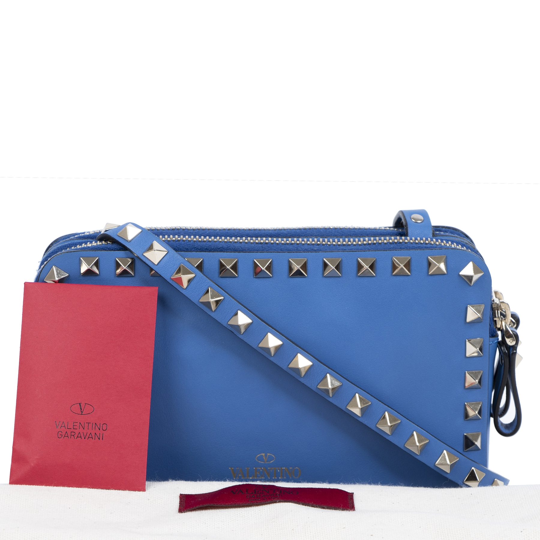 Valentino Blue Rockstud Mini Crossbody Bag