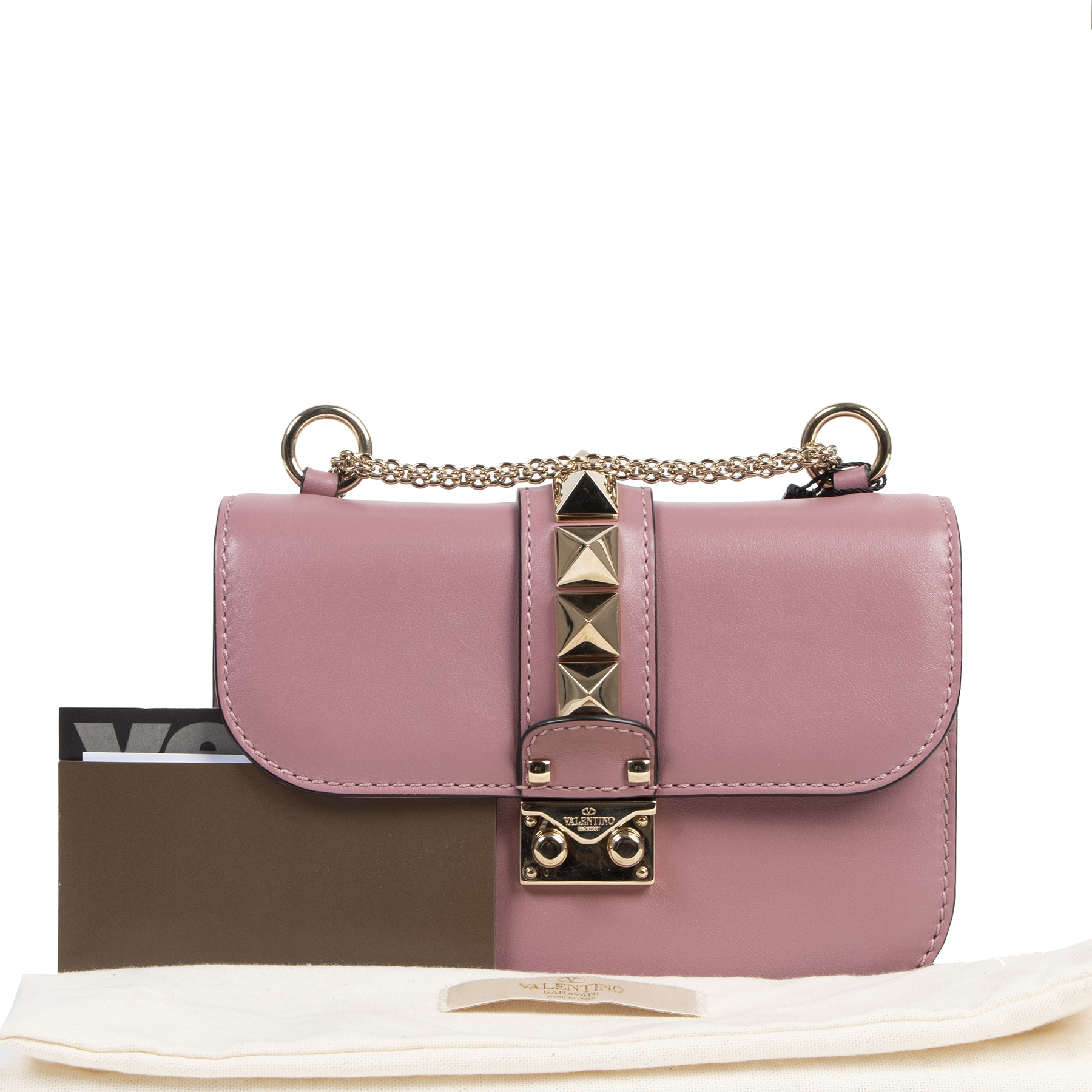 acheter en ligne seconde main Valentino Garavani Mini 'Glam Lock' Pink Purple Shoulder Bag