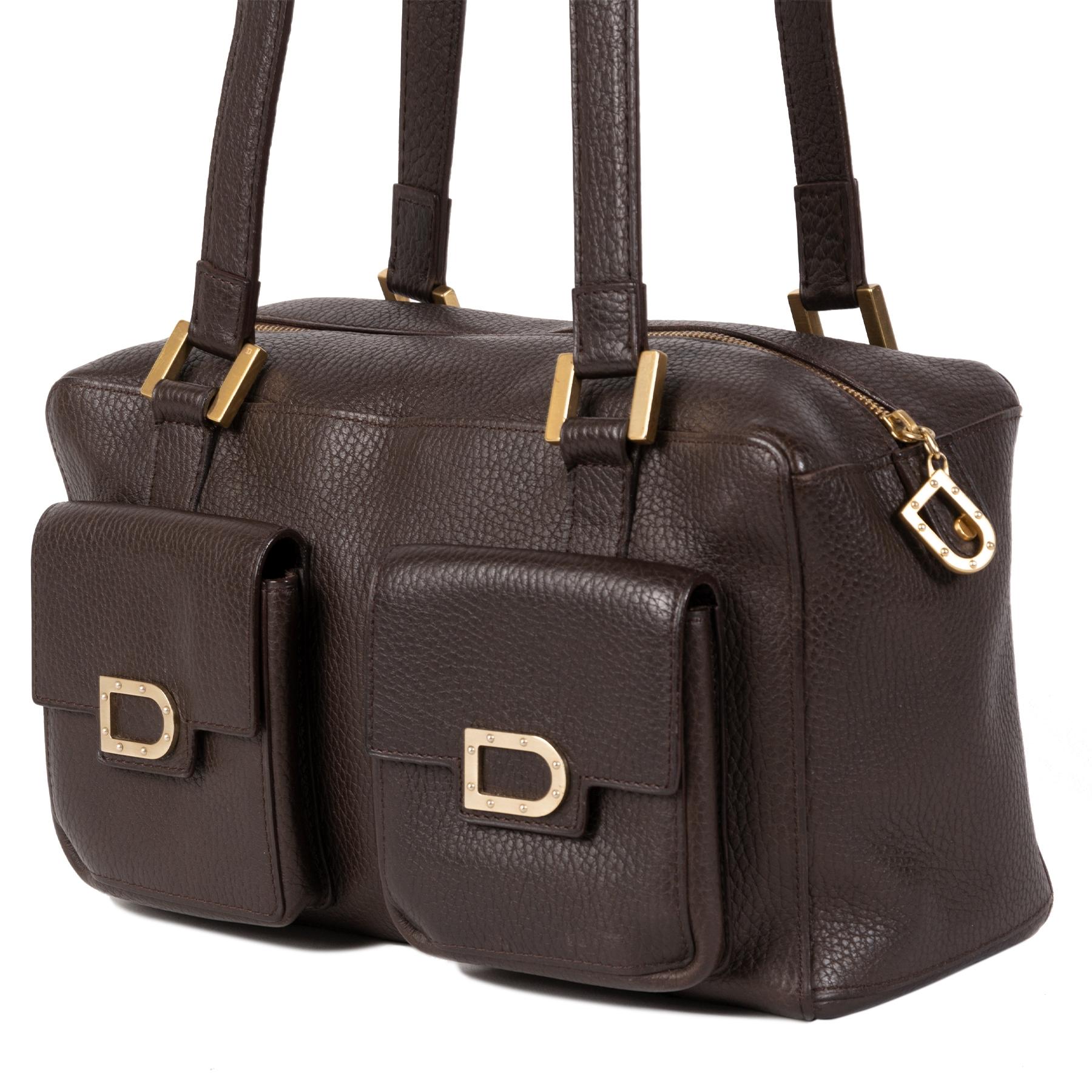 Authentieke Tweedehands Delvaux Dark Brown Front Pockets Shoulder Bag juiste prijs veilig online shoppen luxe merken webshop winkelen Antwerpen België mode fashion