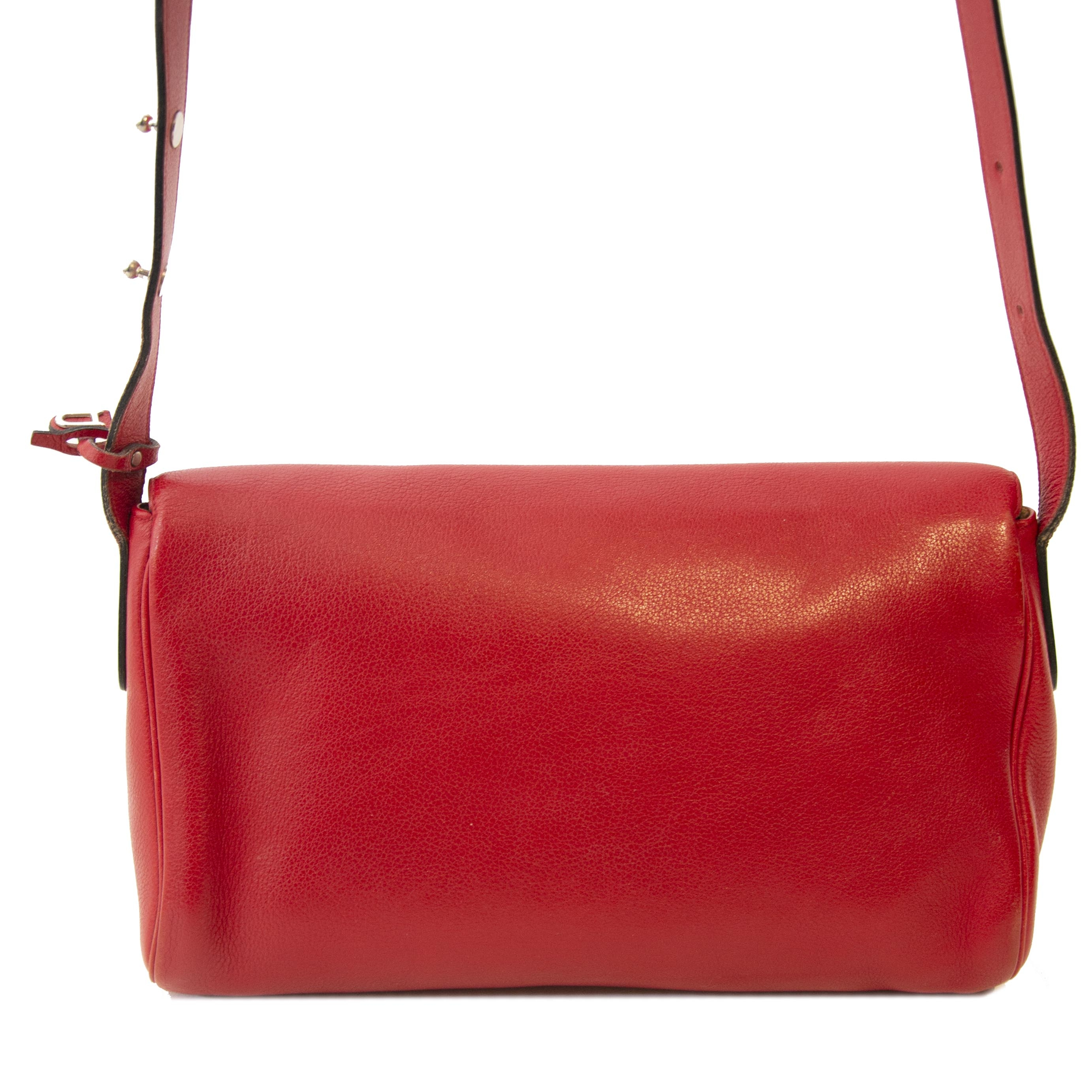 a2873c8f19f ... Authentieke tweedehands vintage Delvaux Passerelle Trotteur Red  Crossbody Bag koop online webshop LabelLOV