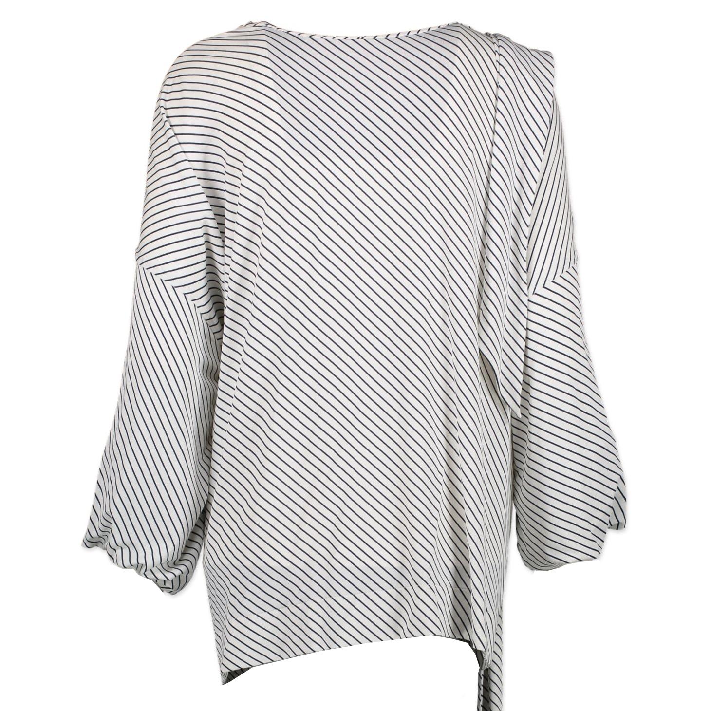 Balenciaga White Blue Striped Blouse - Size 34