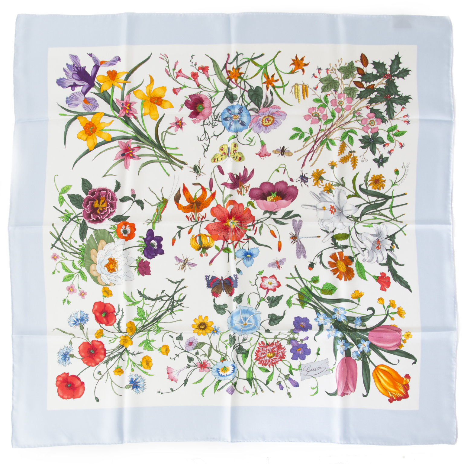 Prachtige Gucci zijden sjaal met bloemenmotief aan de beste prijs bij Labellov online shop Antwerpen