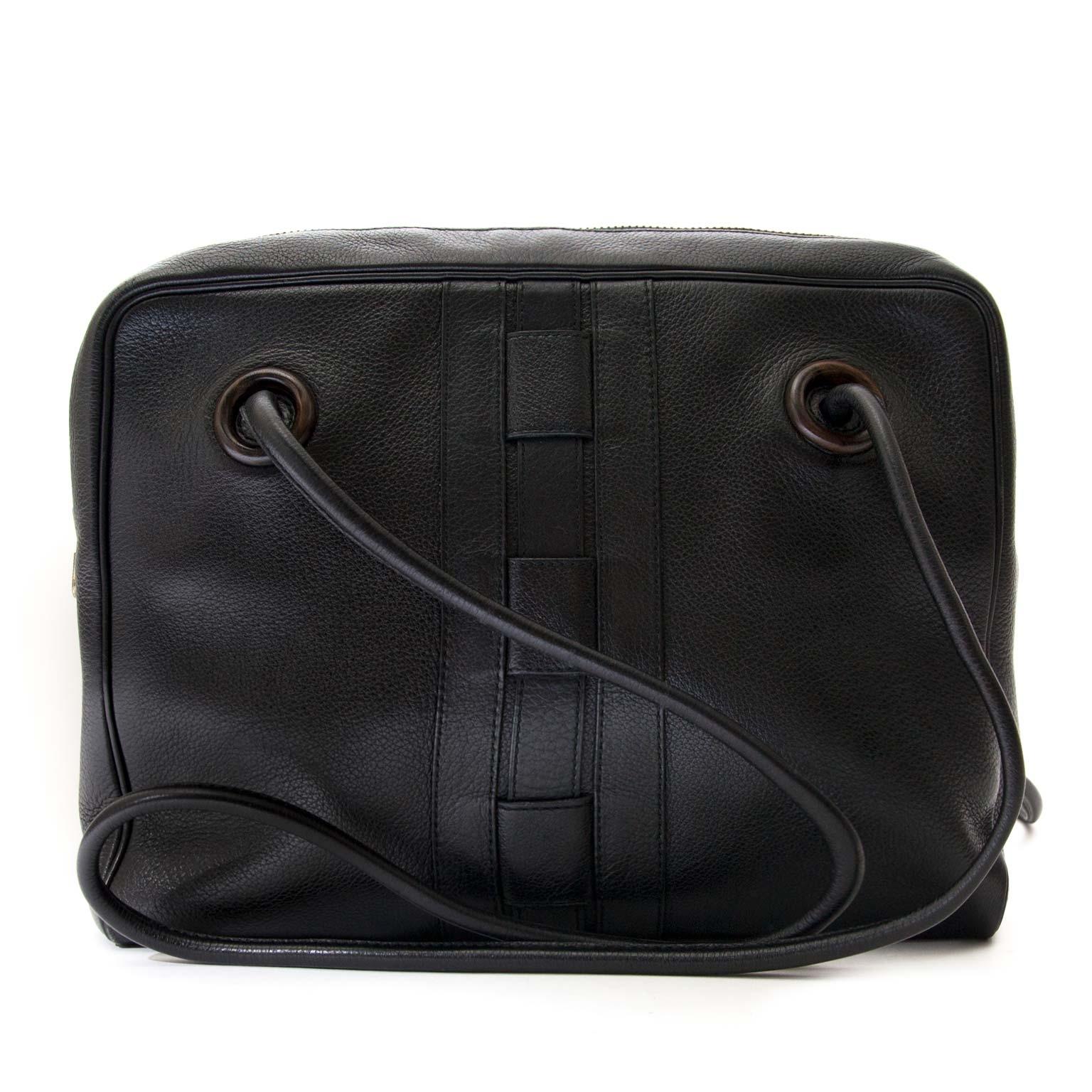 achetez Delvaux Black Leather Sisal GM chez labellov pour le meilleur prix