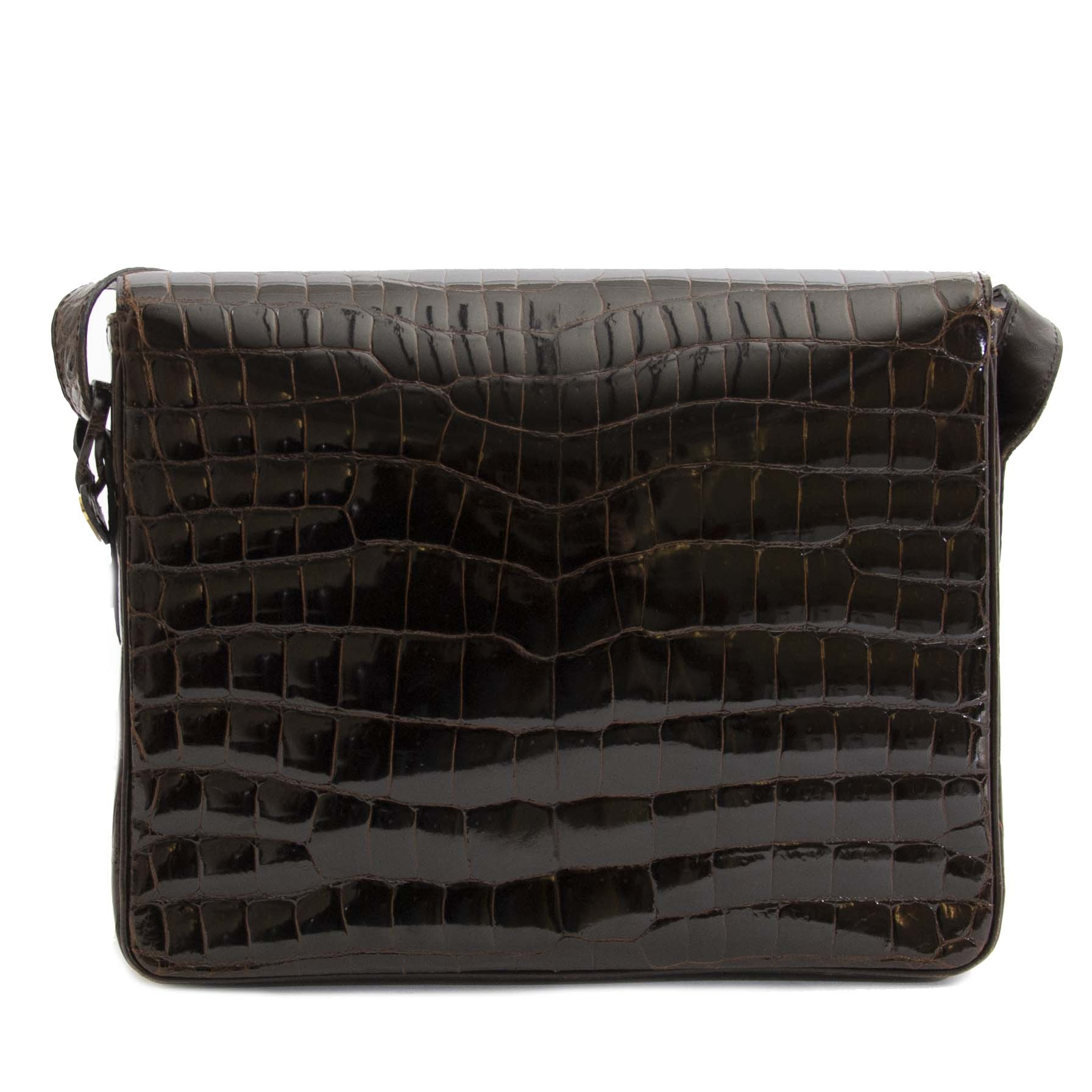 Authentic second hand vintage Delvaux Dark Brown Croco Passerelle Shoulder Bag buy online webshop LabelLOV