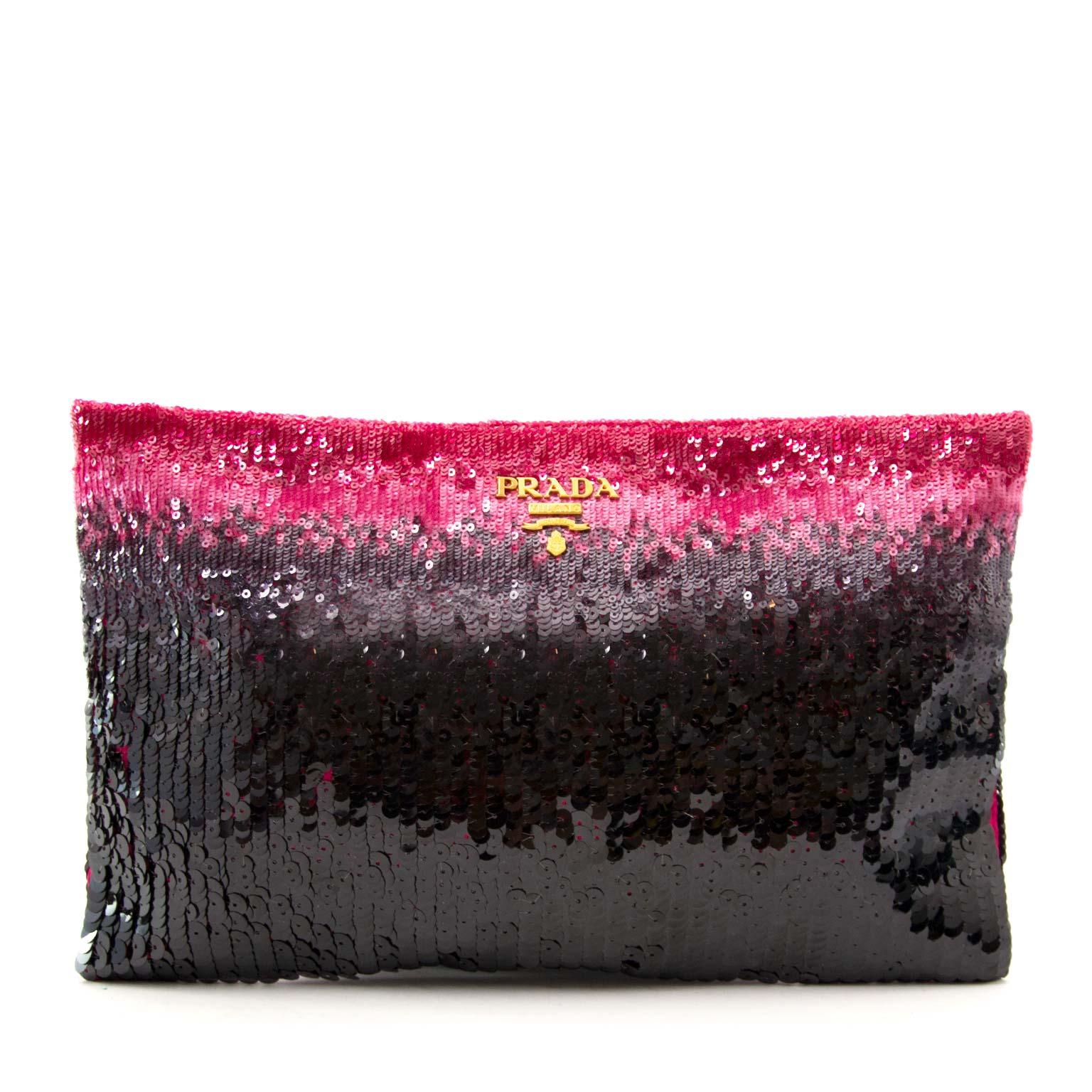 Shop safe online aan de beste prijs Prada Ombre Sequin Clutch Purple Pink