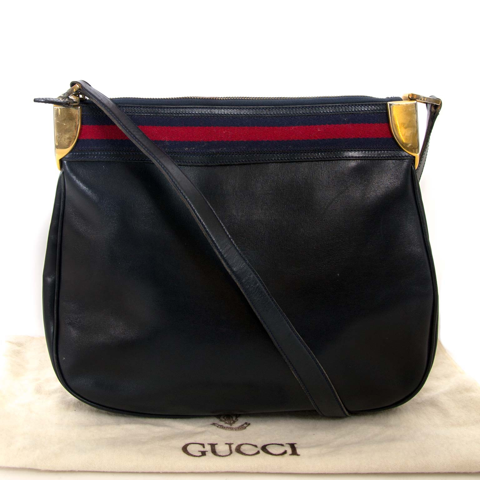 gucci vintage blue web shoulder bag now for sale at labellov vintage fashion webshop belgium