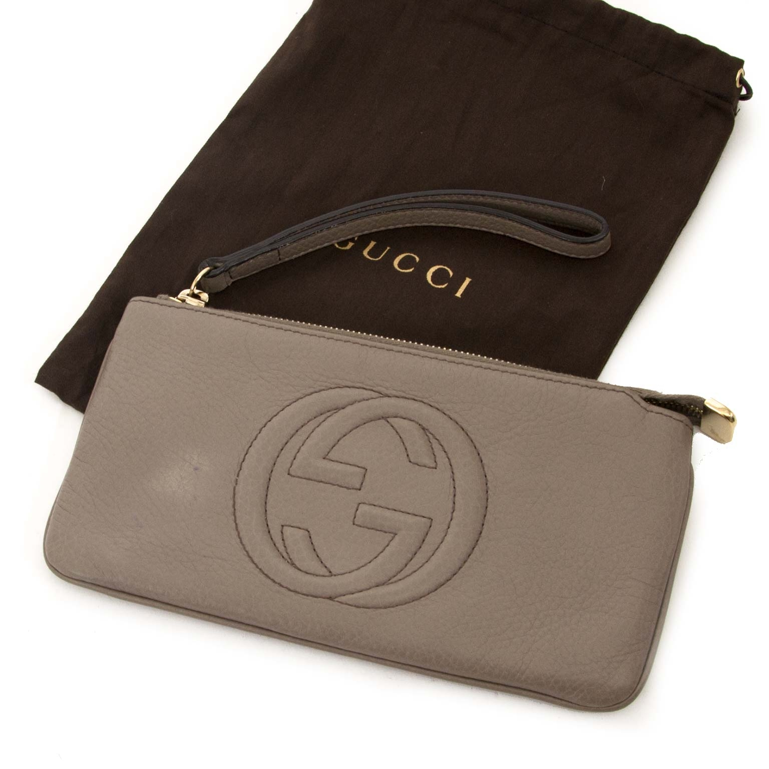 gucci grey leather soho wrist clutch wallet now for sale at labellov vintage fashion webshop belgium
