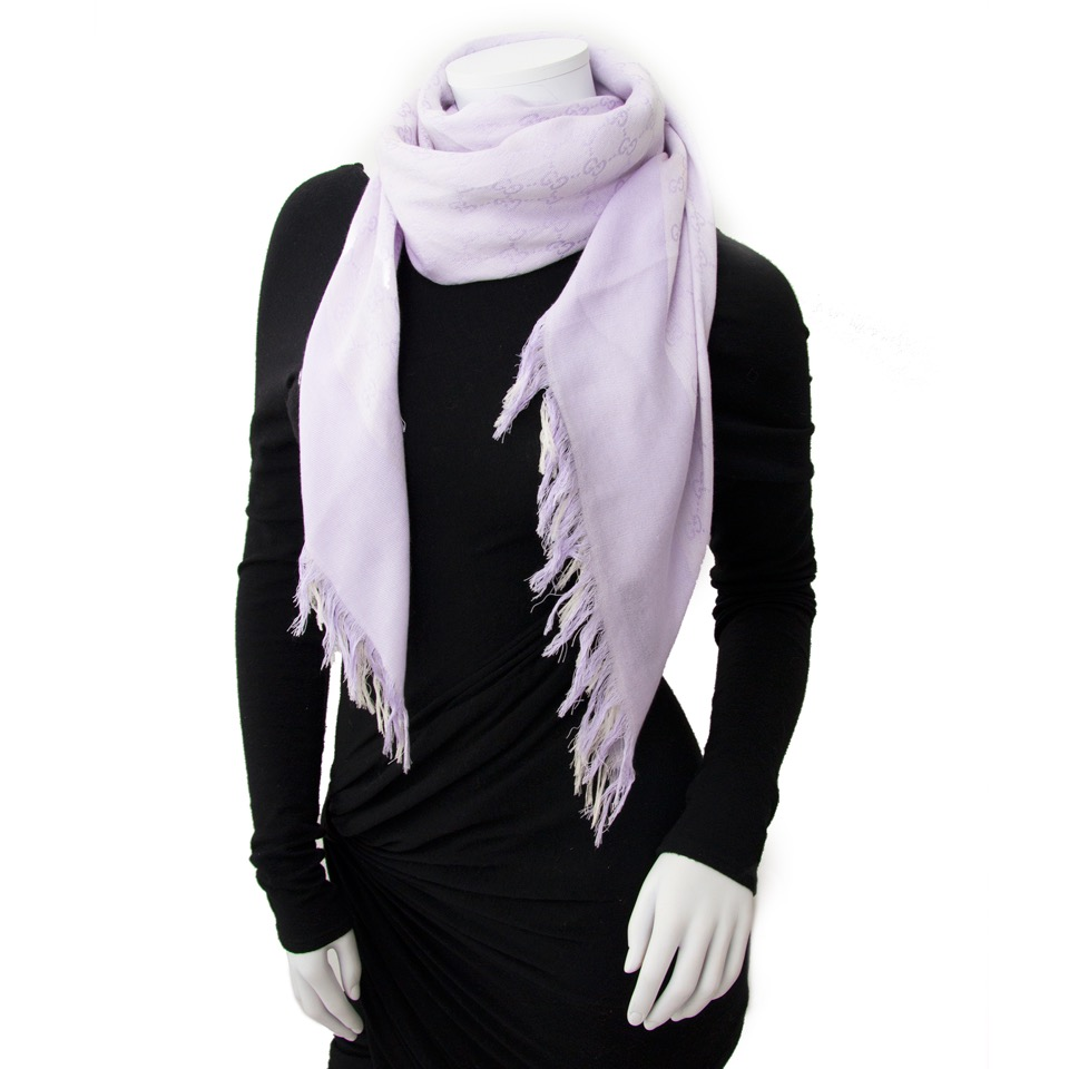 Buy and sell your authentic Gucci Purple 'GG' Cotton Scarf