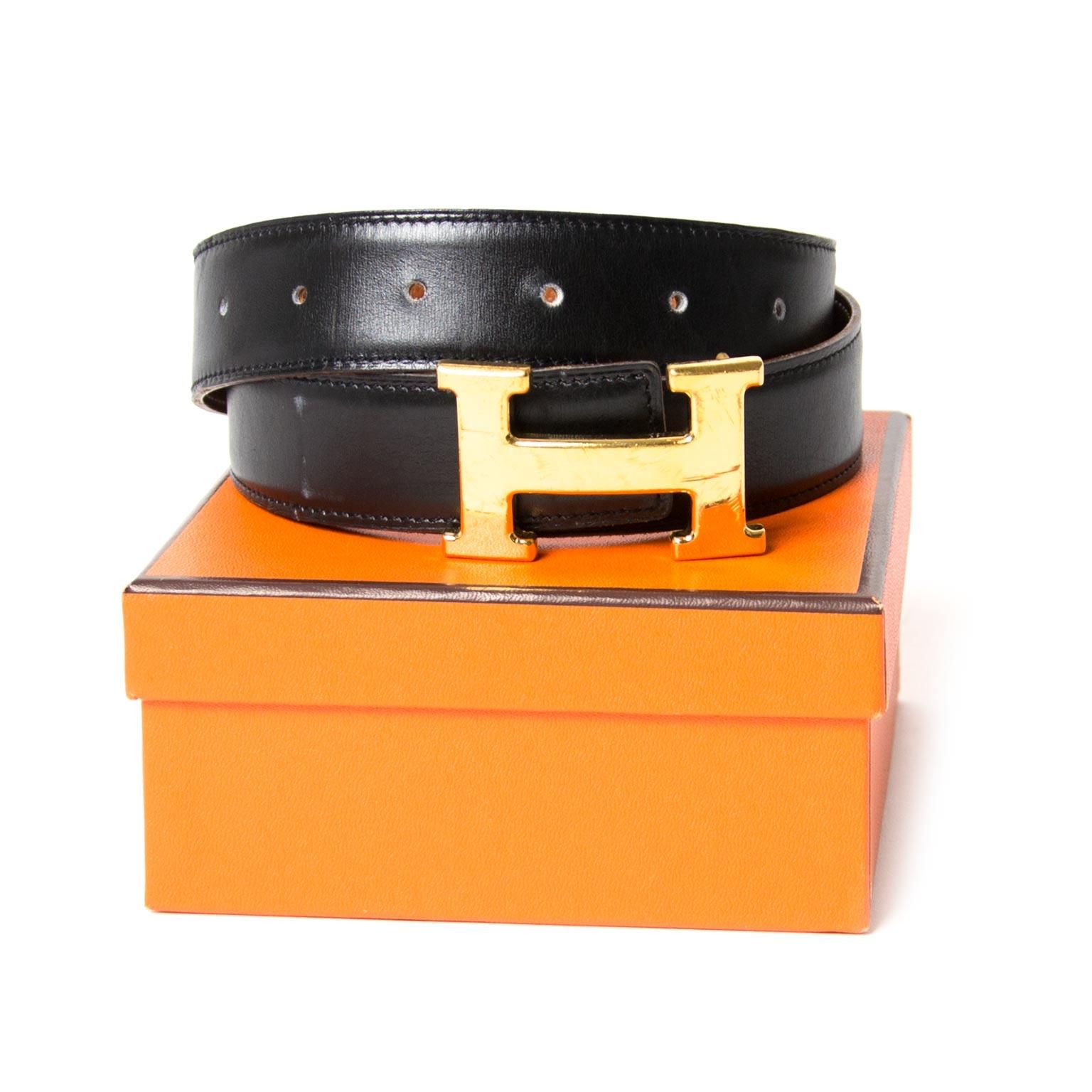 Hermès Reversible Black/Brown Constance H Belt - Size 80 now for sale at labellov vintage fashion webshop belgium