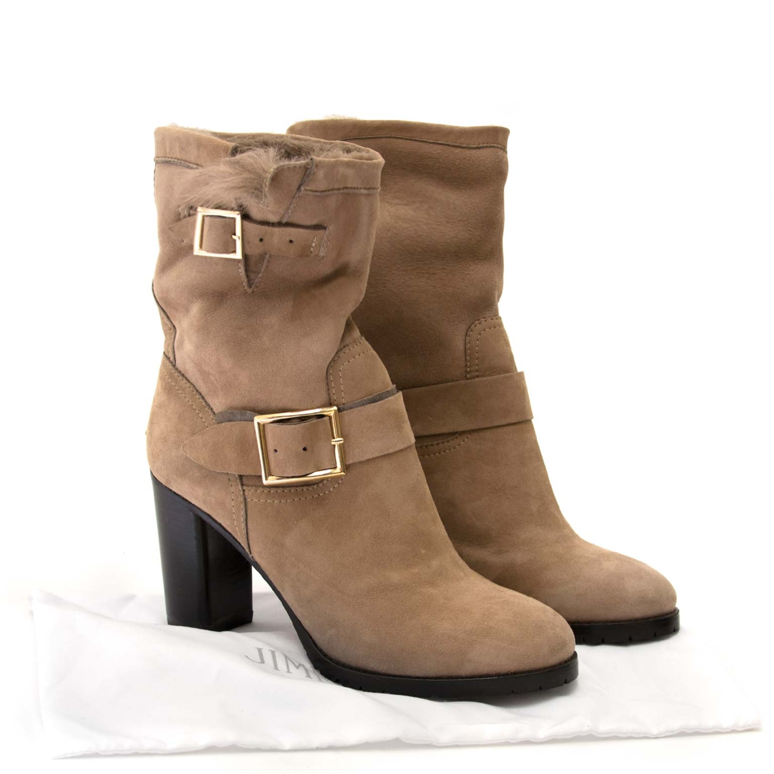 jimmy choo heeled dart shearling suede boots now for sale at labellov vintage fashion webshop belgium