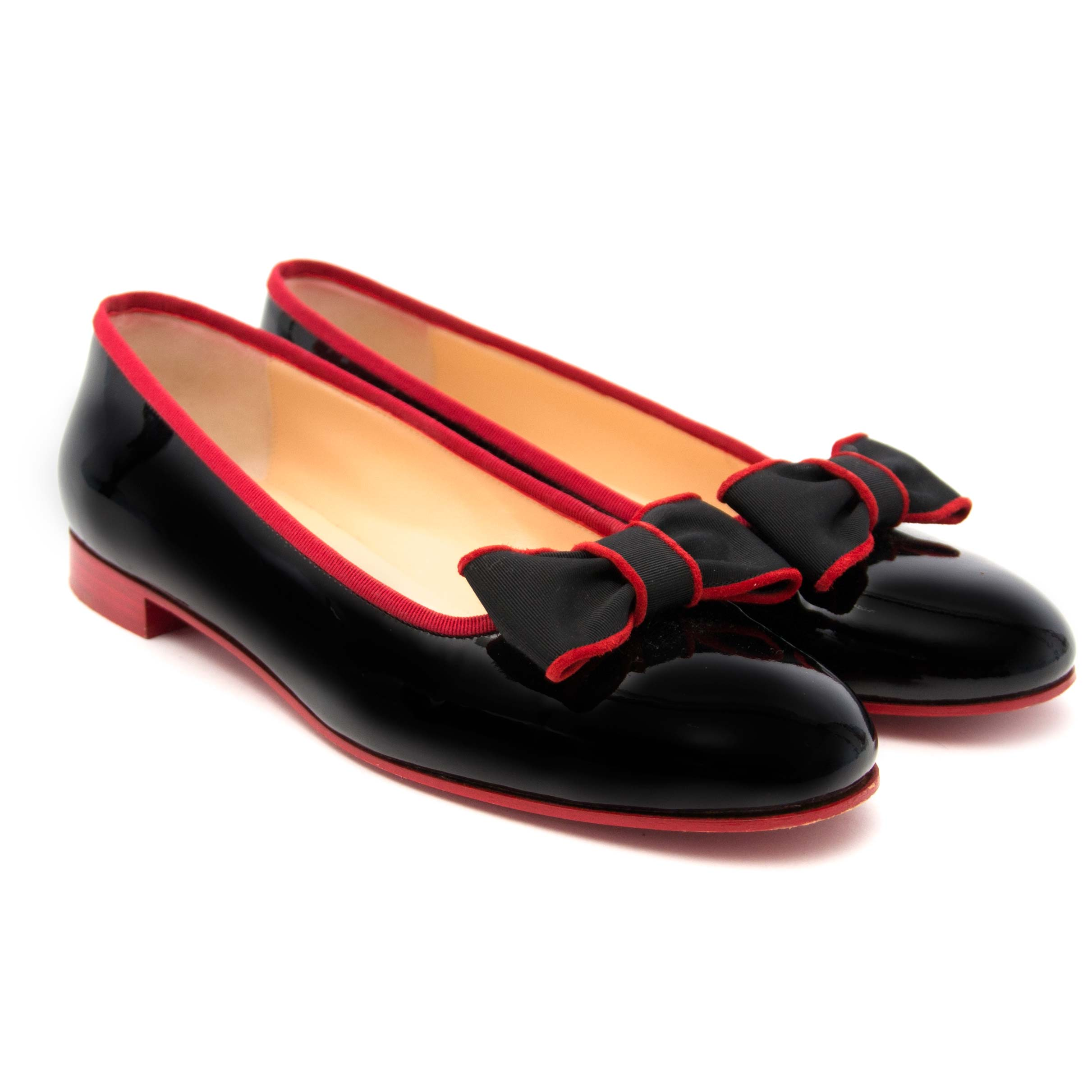 shop safe online at the best price Louboutin Black and Red Ballet Flats - Size 40