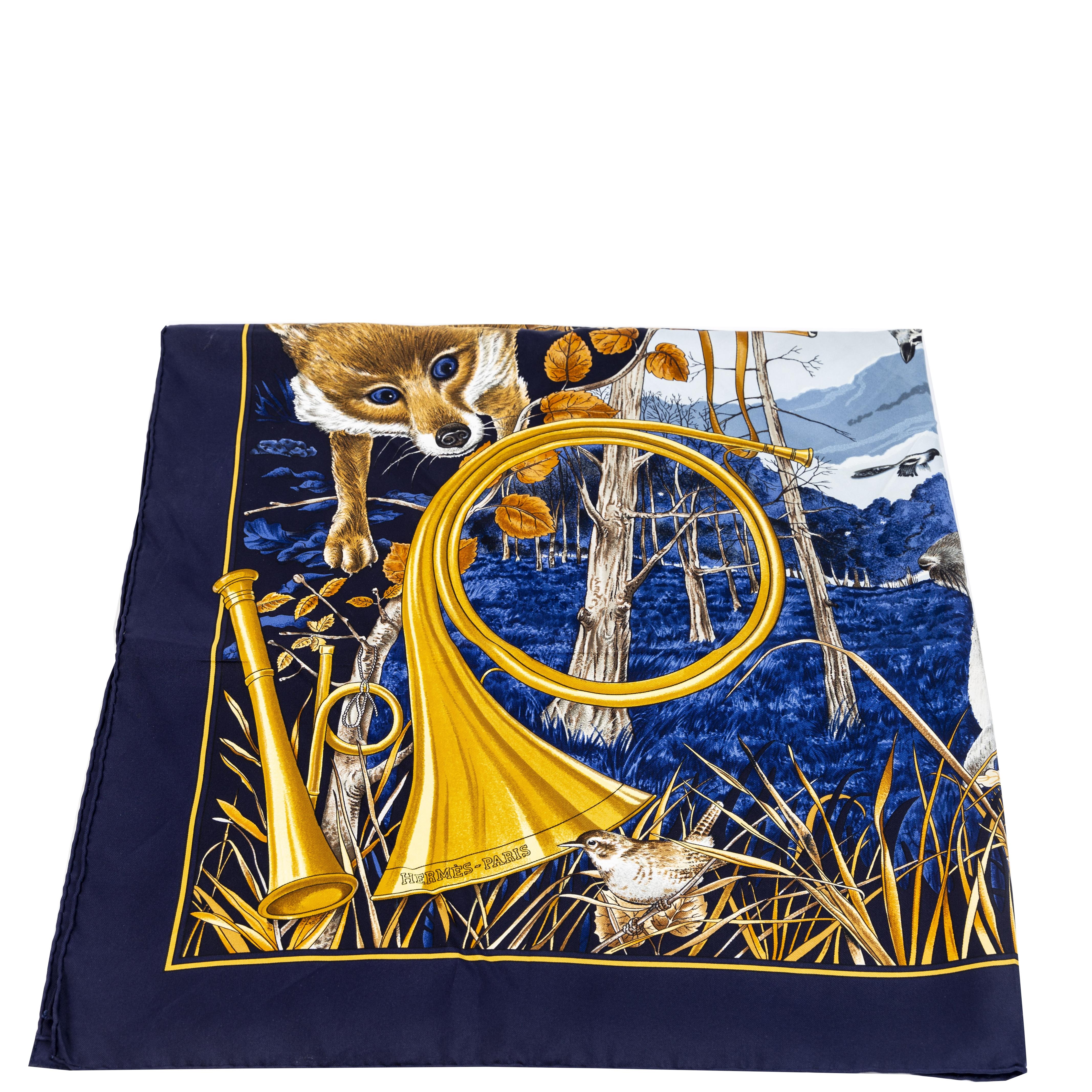 achetere en ligne seconde main Hermès Carré Silk Scarf Chasse Au Bois