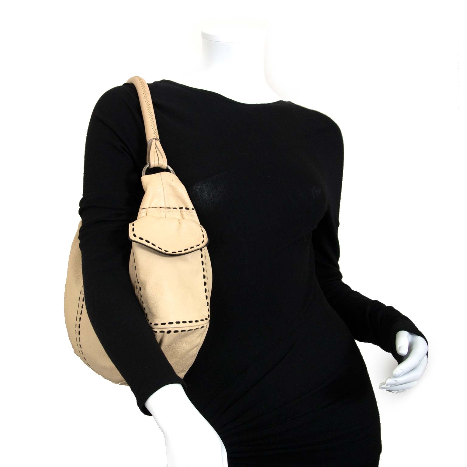 prada beige leder handtas nu te koop bij labellov vintage mode webshop belgië