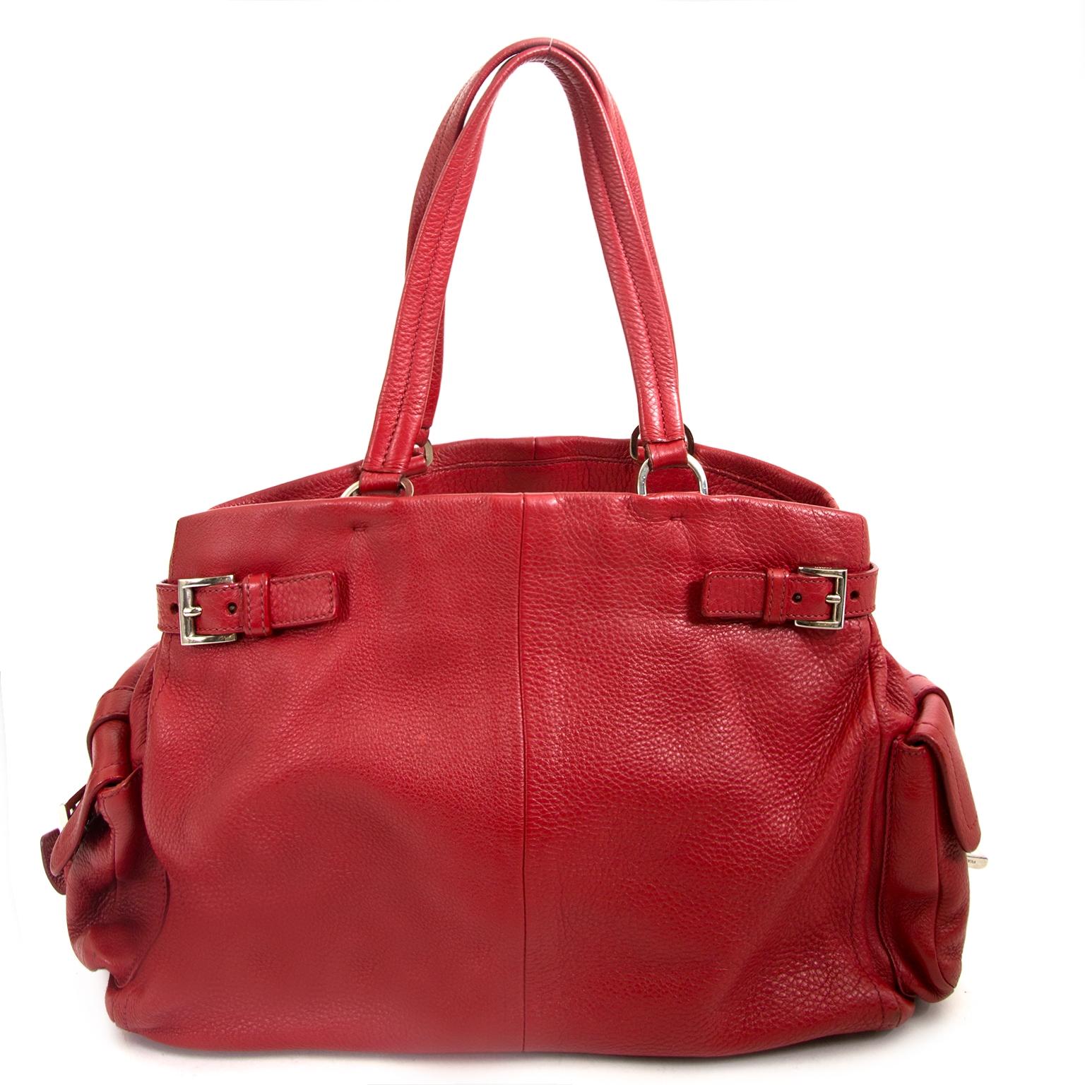 prada rode lederen tas nu te koop bij labellov vintage mode webshop belgië
