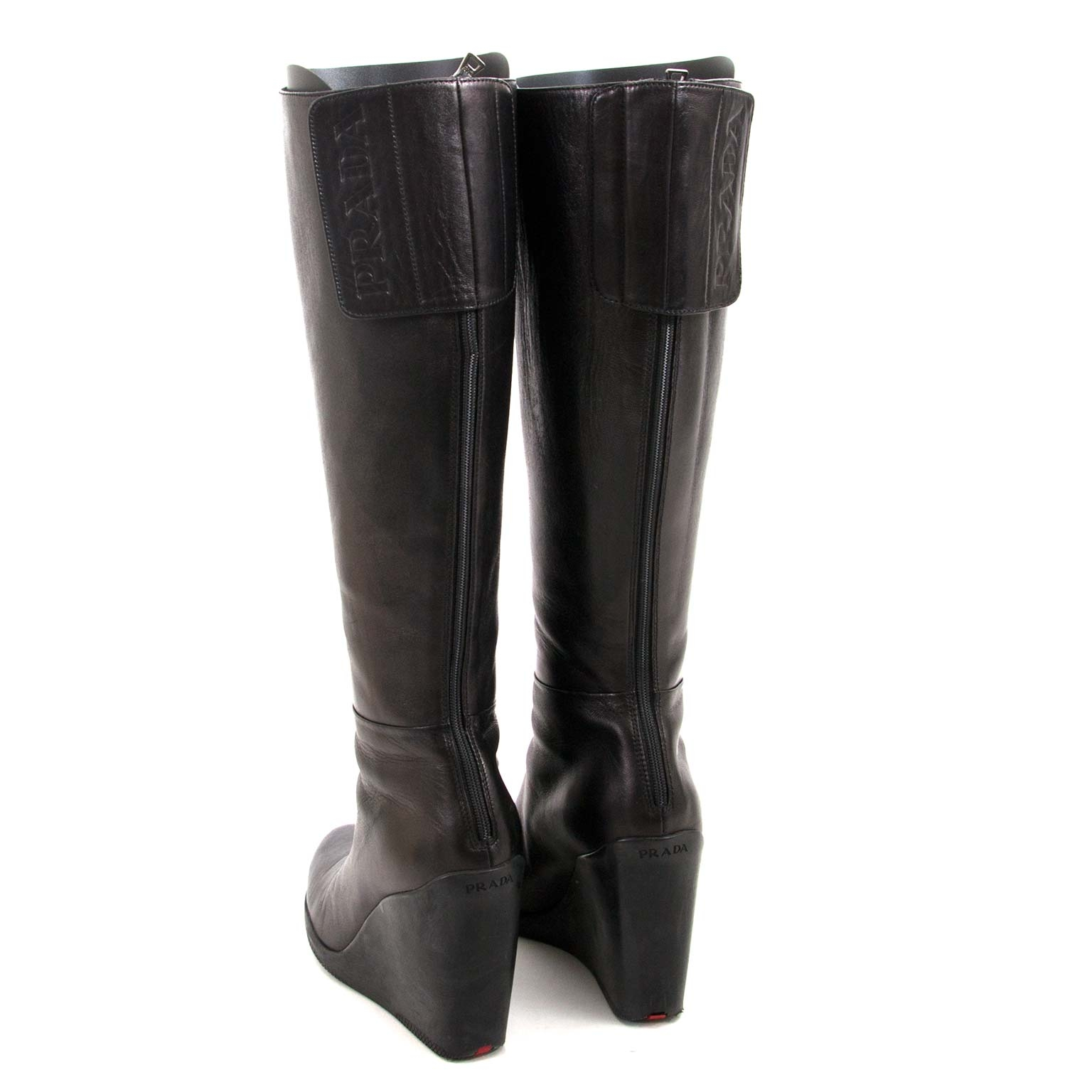 prada black leather wedge boots now for sale at labellov vintage fashion webshop belgium