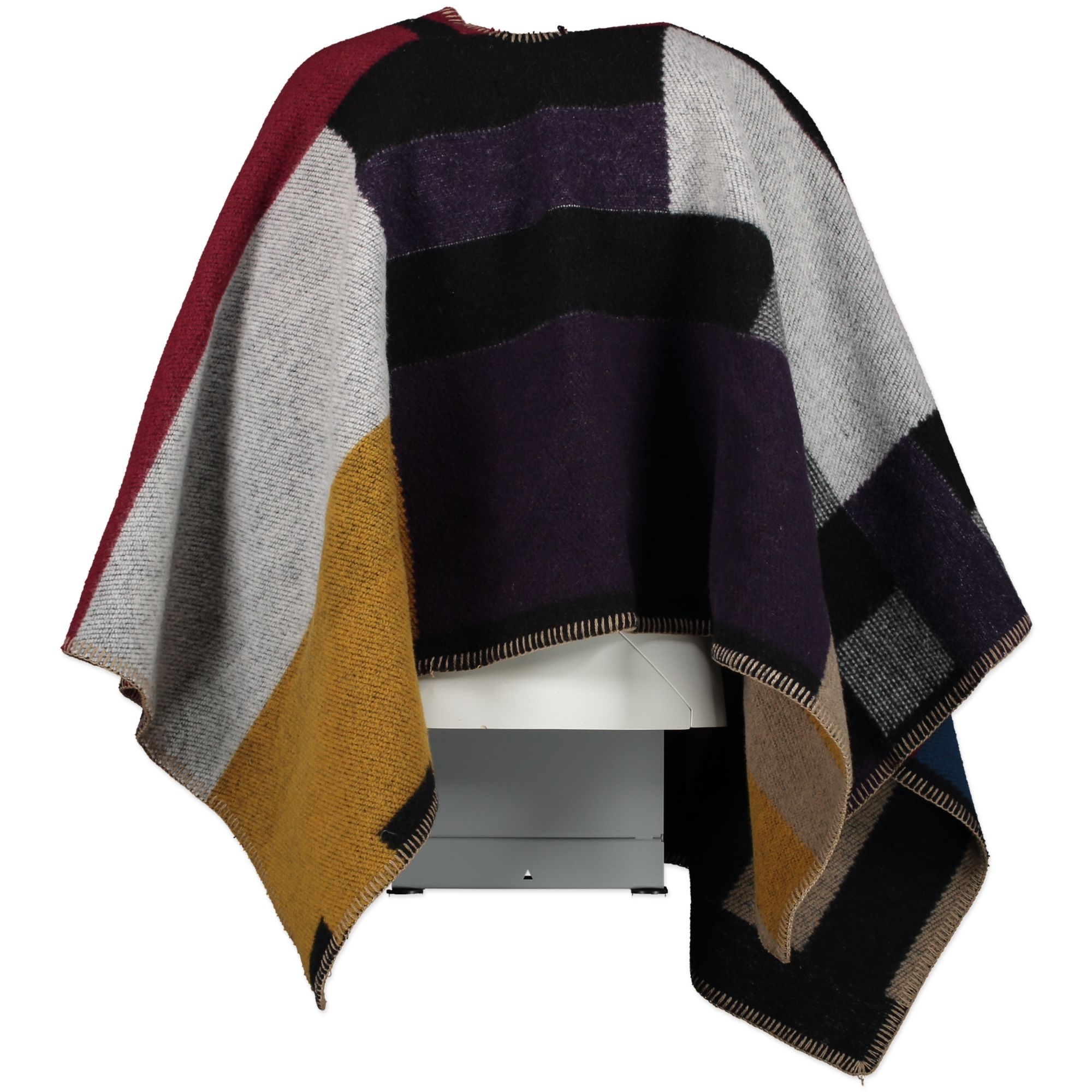 Burberry Prorsum Color-Block Wool Cashmere Blanket Poncho
