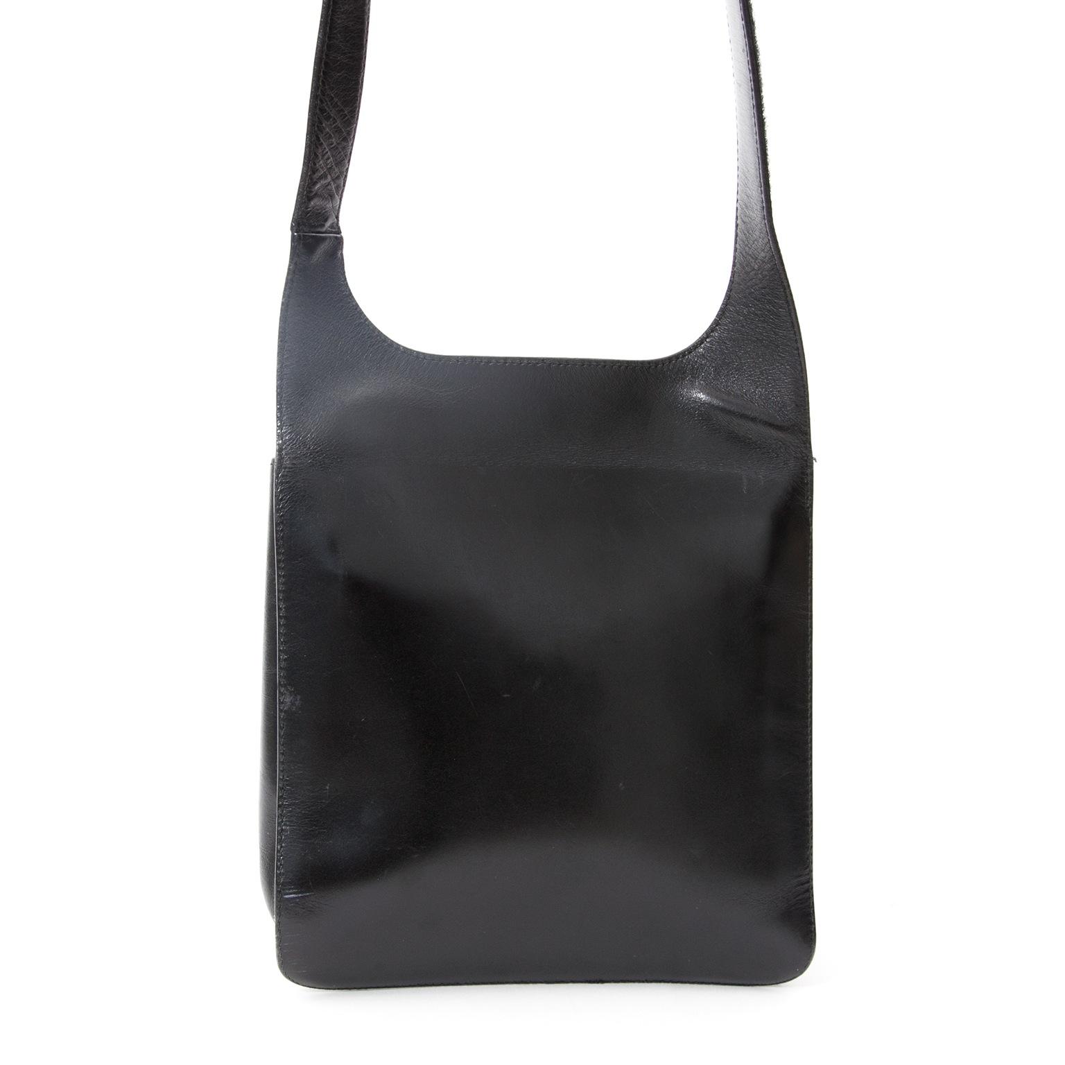6b6fcf1e452e ... Prada Zwarte Vintage Leren Cross-Body Tas, Voor designer merken zoals  Louis Vuitton,
