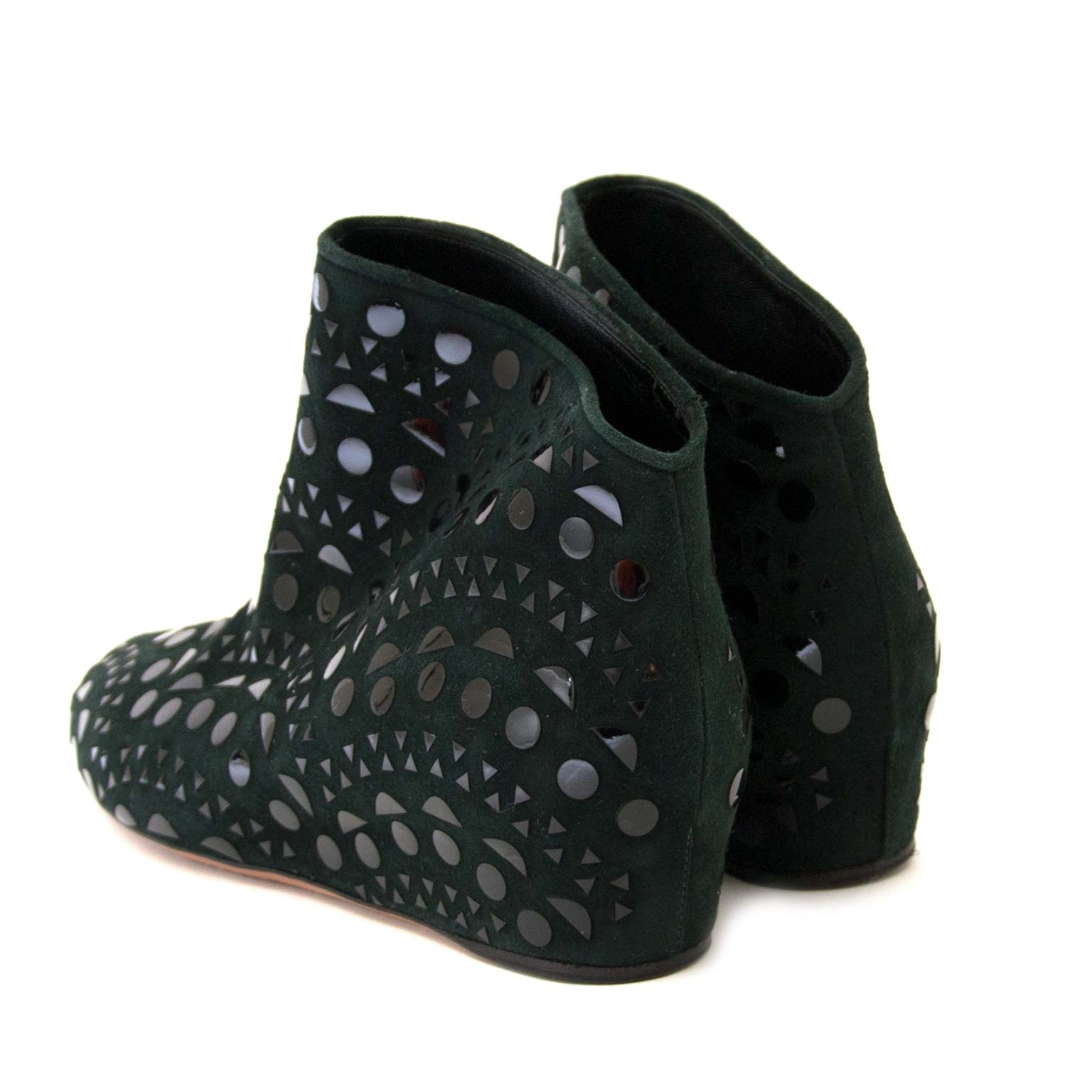 alaïa studded suede wedge ankle boots now for sale at labellov vintage fashion webshop belgium