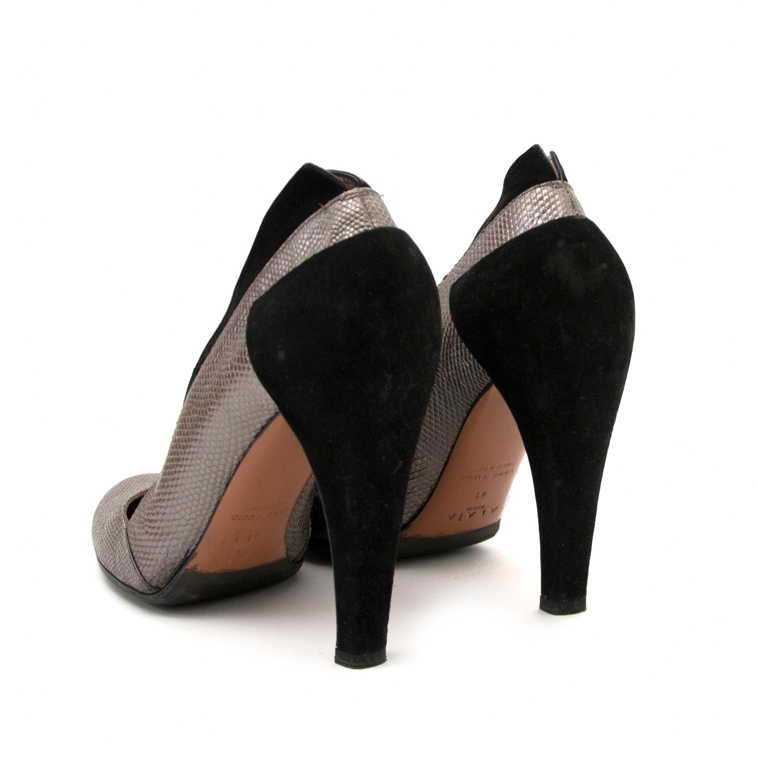 alaïa black suede & silver pumps now for sale at labellov vintage fashion webshop belgium