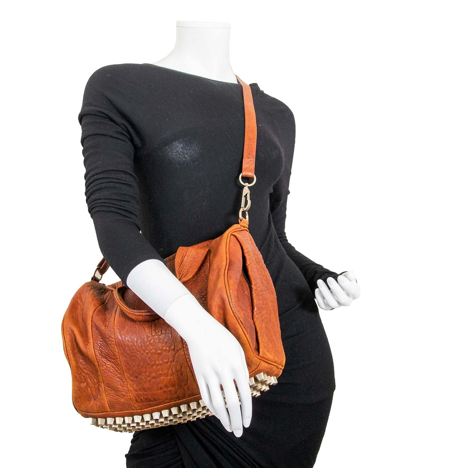 alexander wang brown grained leather rocco bag now for sale at labellov vintage fashion webshop belgium