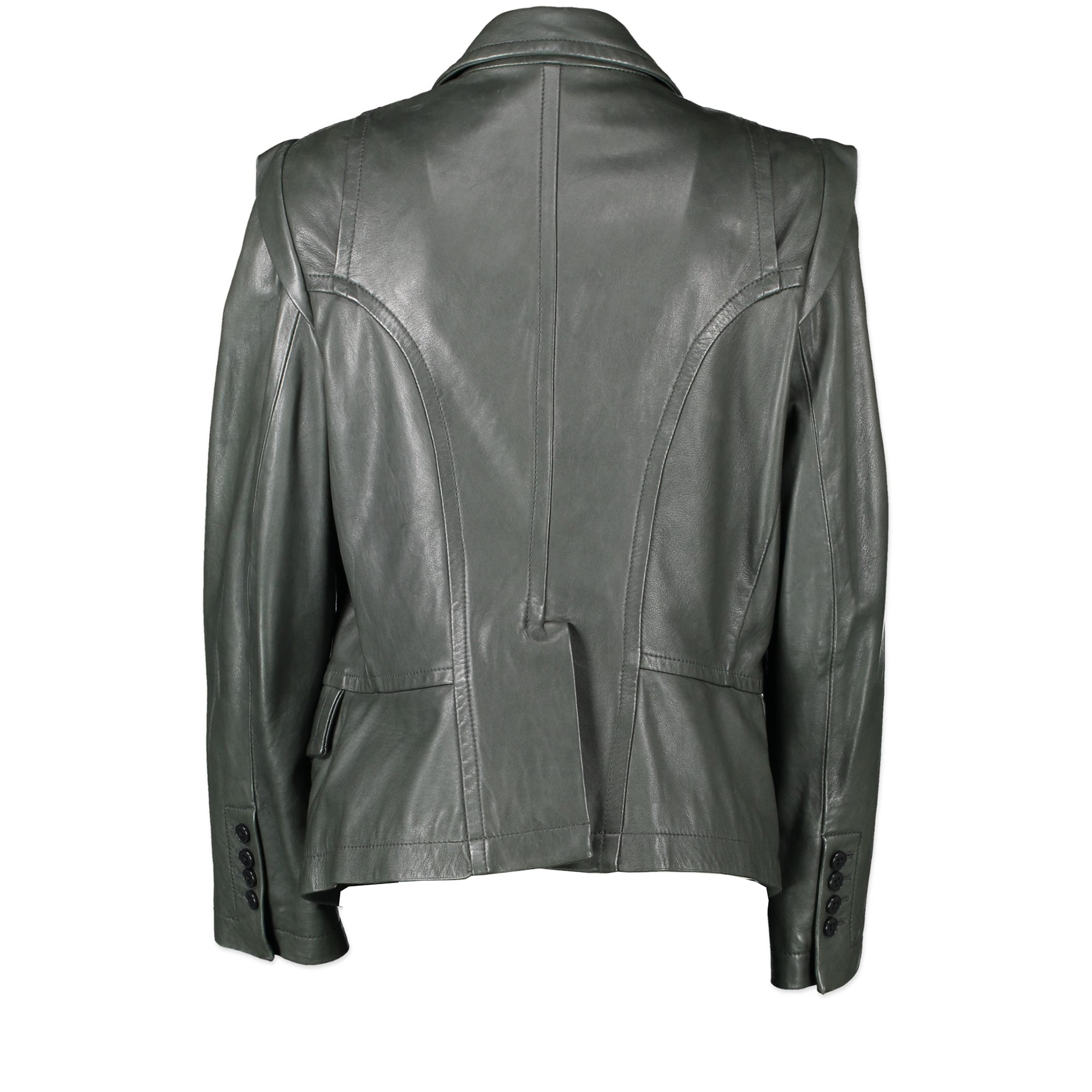 Ann Demeulemeester Forest Green Double Breasted Leather Jacket