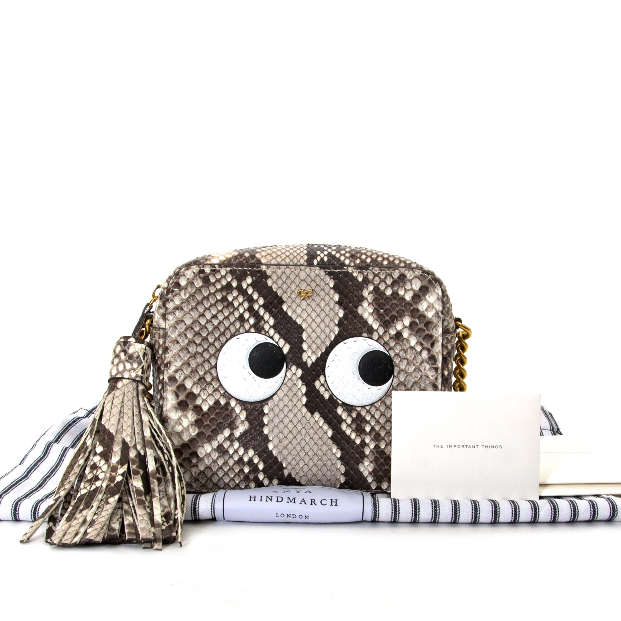 anya hindmarch python eyes right crossbody bag now for sale at labellov vintage fashion webshop belgium