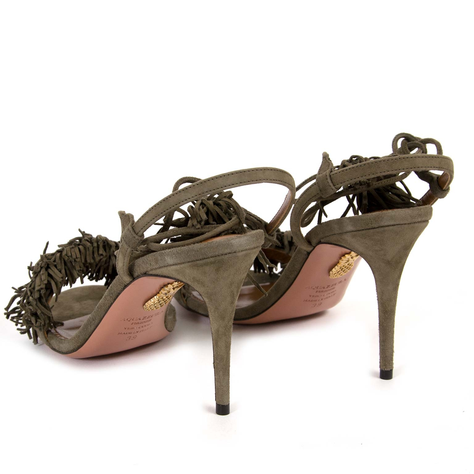 buy second hand authentic Aquazzura Wild Thing 85 Suede Truffle Sandal Heel - Size 39 at labellov vintage online store