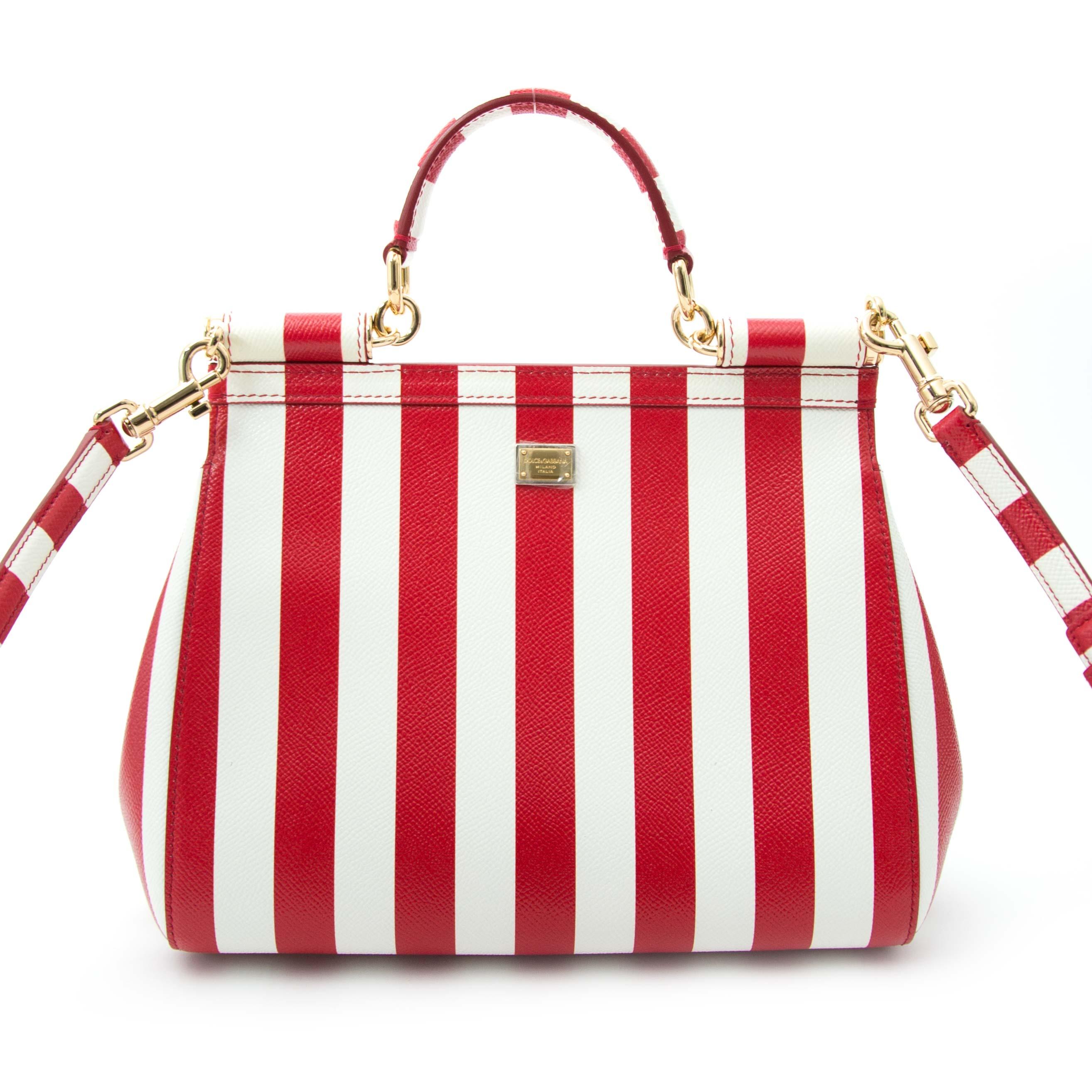 koop veilig online aan de beste prijs Dolce & Gabbana  Red and White Striped Lemons Miss Sicily Bag