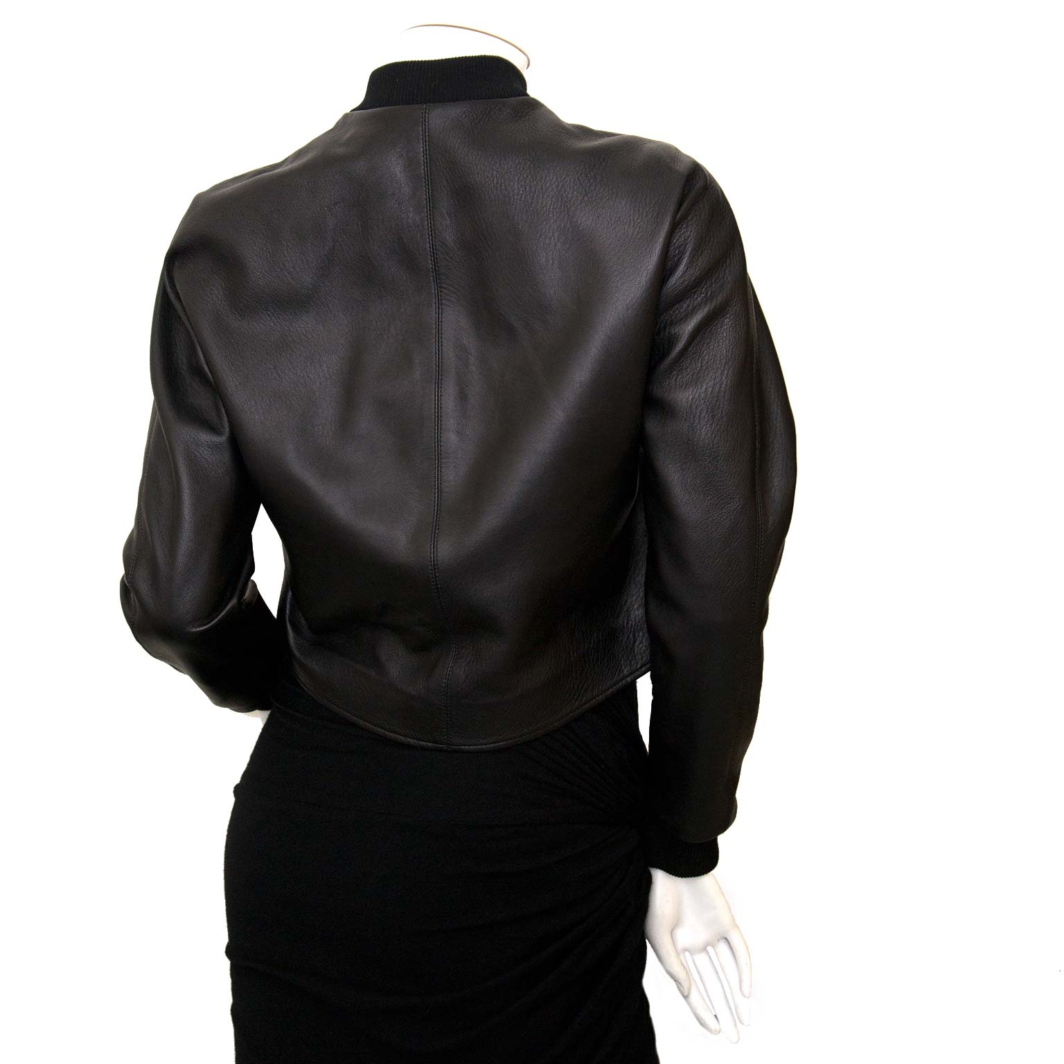 buy Balenciaga Black Leather Bomber Jacket at labellov and pays save online