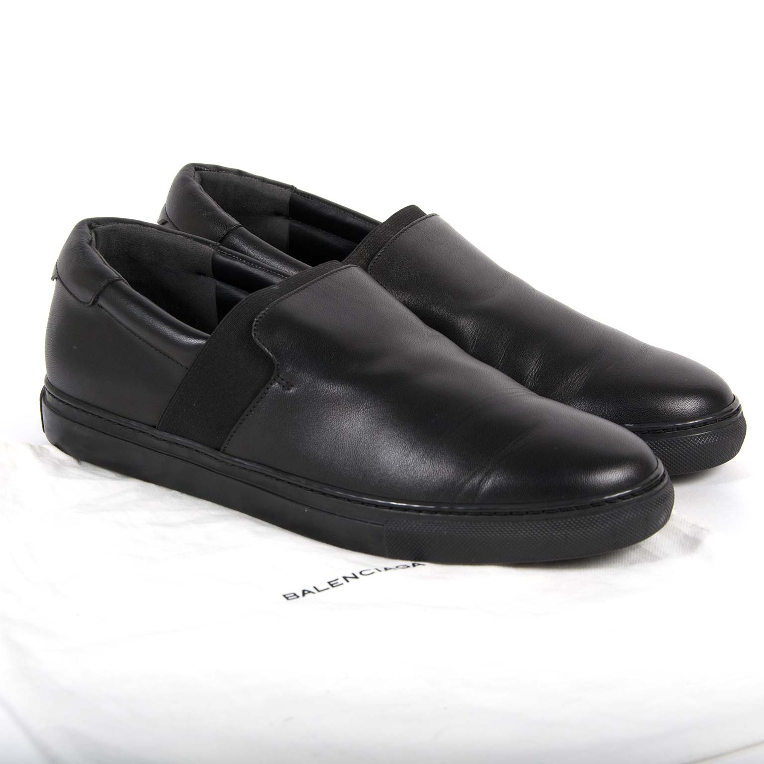 balenciaga black leather slip-on sneakers now for sale at labellov vintage fashion webshop belgium
