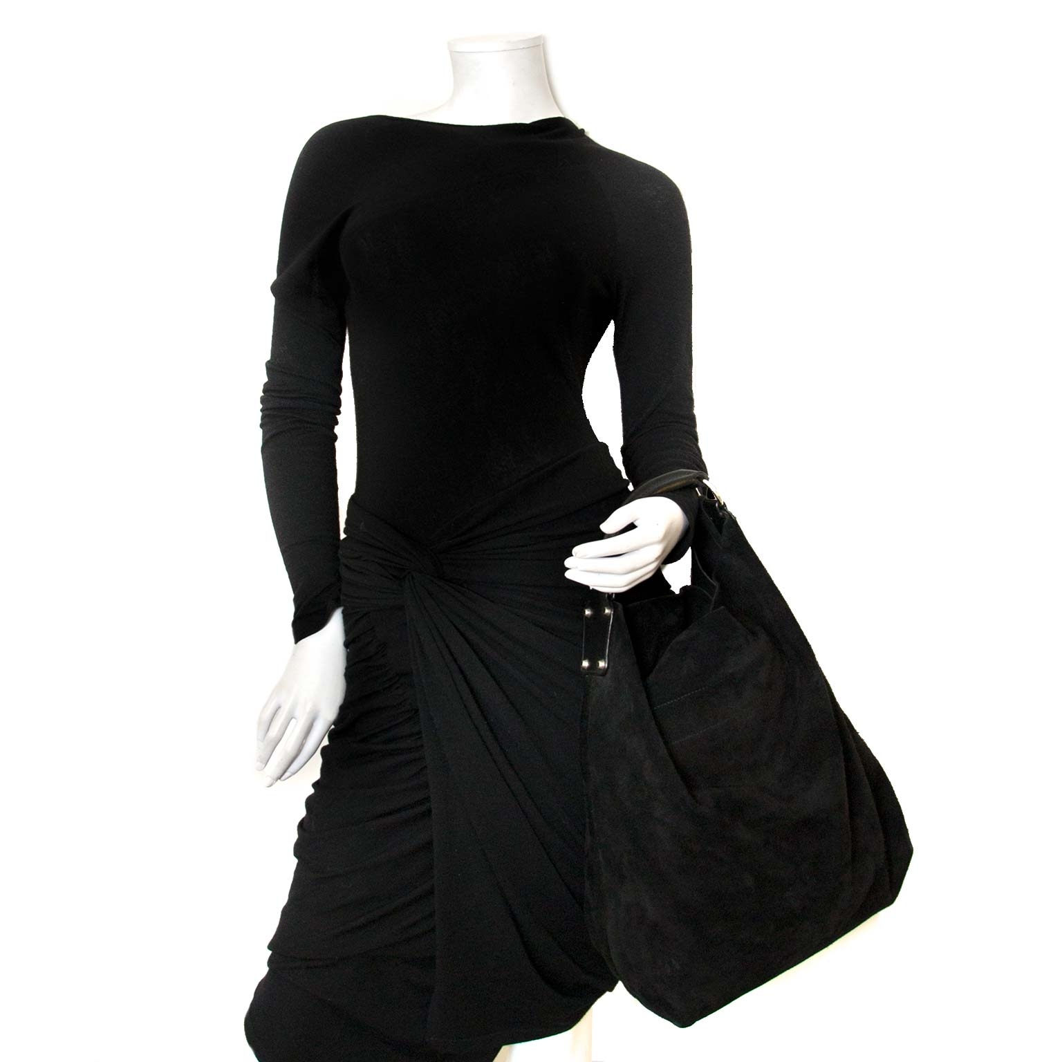 Koop belanciaga suede hobo tas nu online bij labellov vintage mode webshop