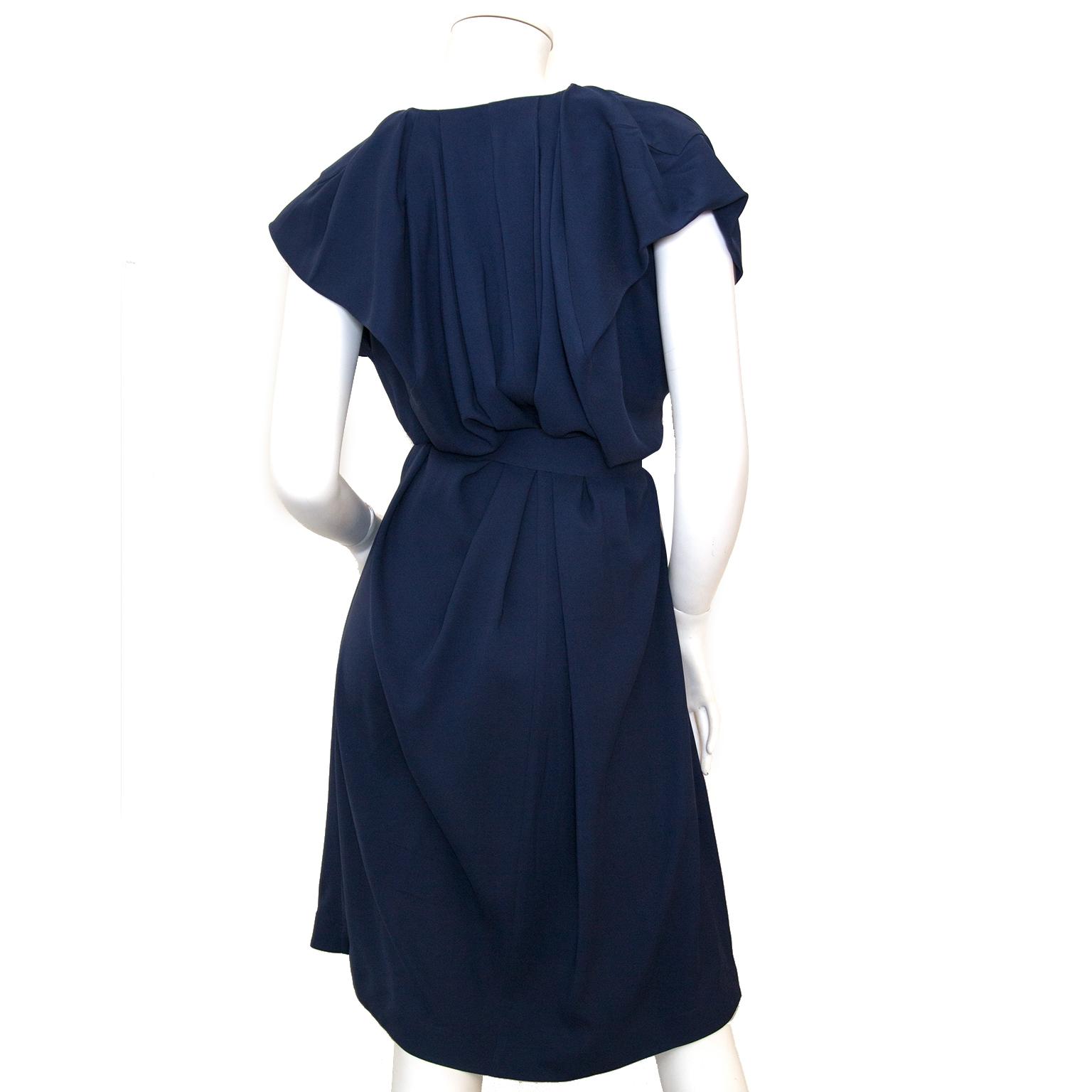 Buy 100% authentic Balenciaga Blue V Neck Silk Dress