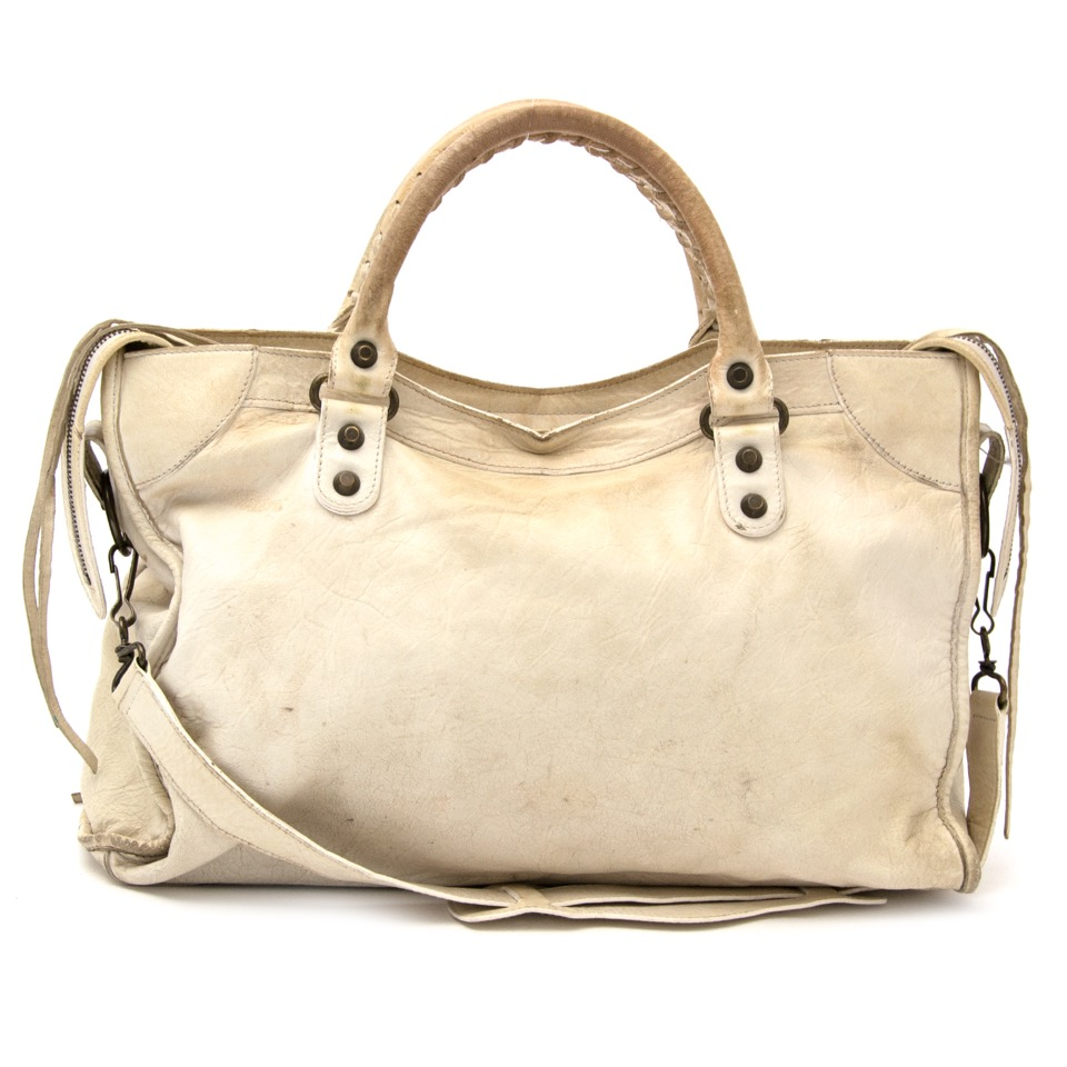 Buy and sell your designer Balenciaga white leather city bag for the best price online
