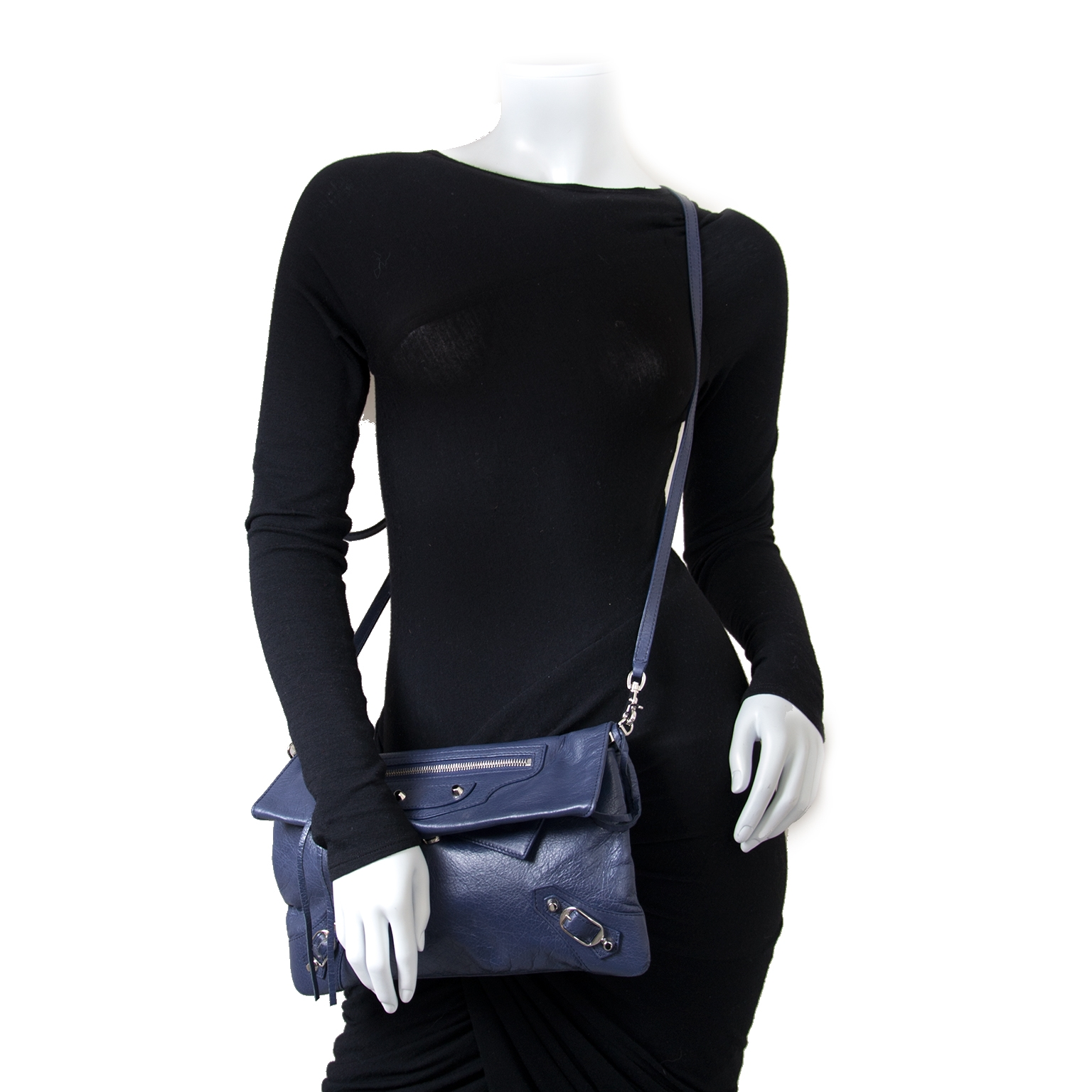 Balenciaga Blue Classic Motocross Envelope Clutch now for sale at labellov vintage fashion webshop belgium