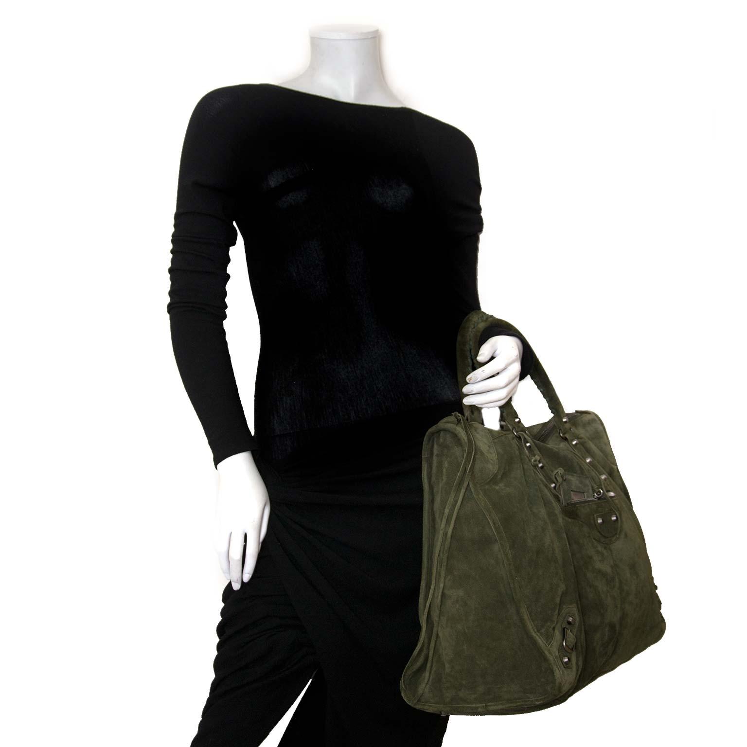 balenciaga khaki suede city weekender bag now for sale at labellov vintage fashion webshop belgium