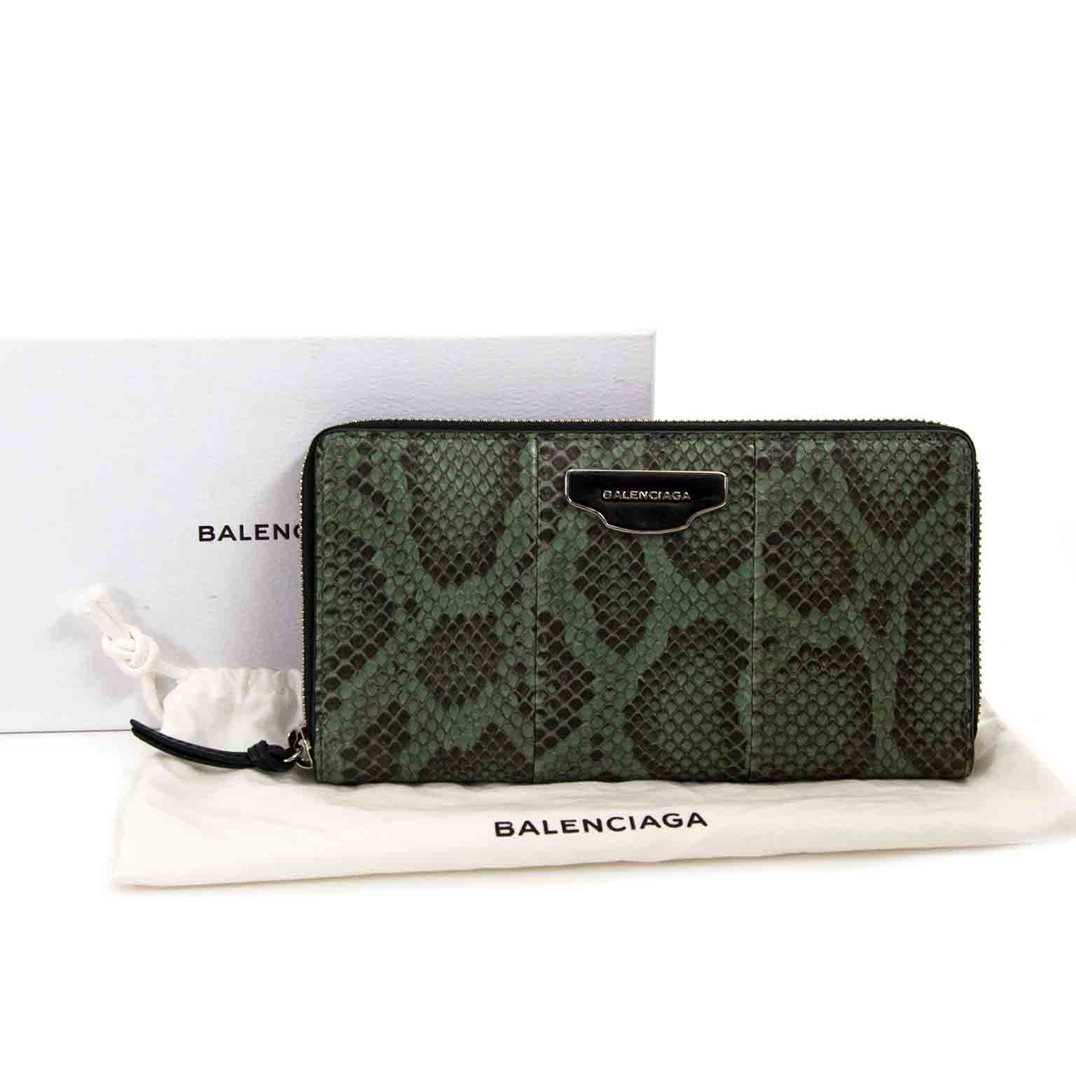 balenciaga green python zip around wallet now for sale at labellov vintage fashion webshop belgium