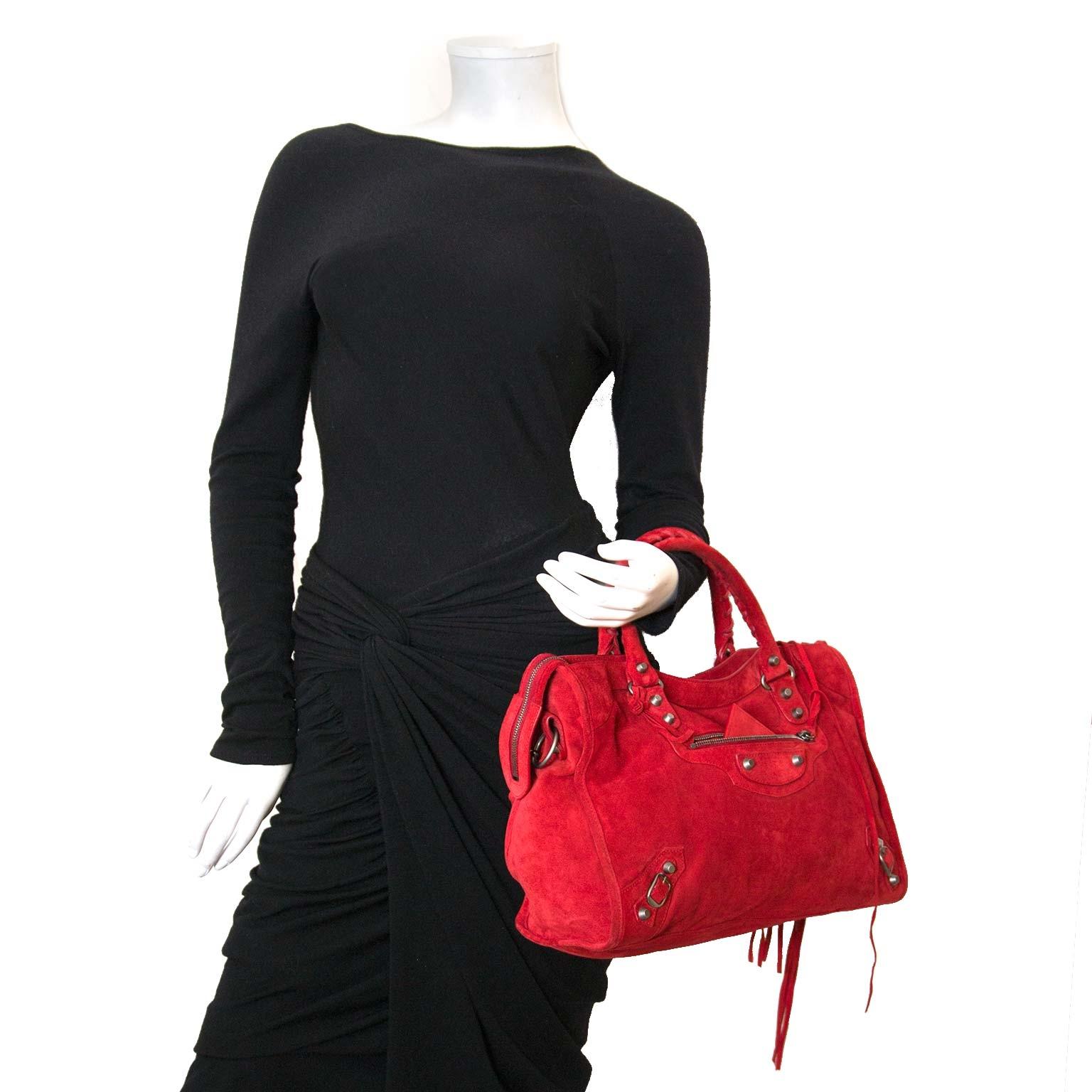Koop authentieke balenciaga suede city tas bij labellov vintage mode webshop belgië
