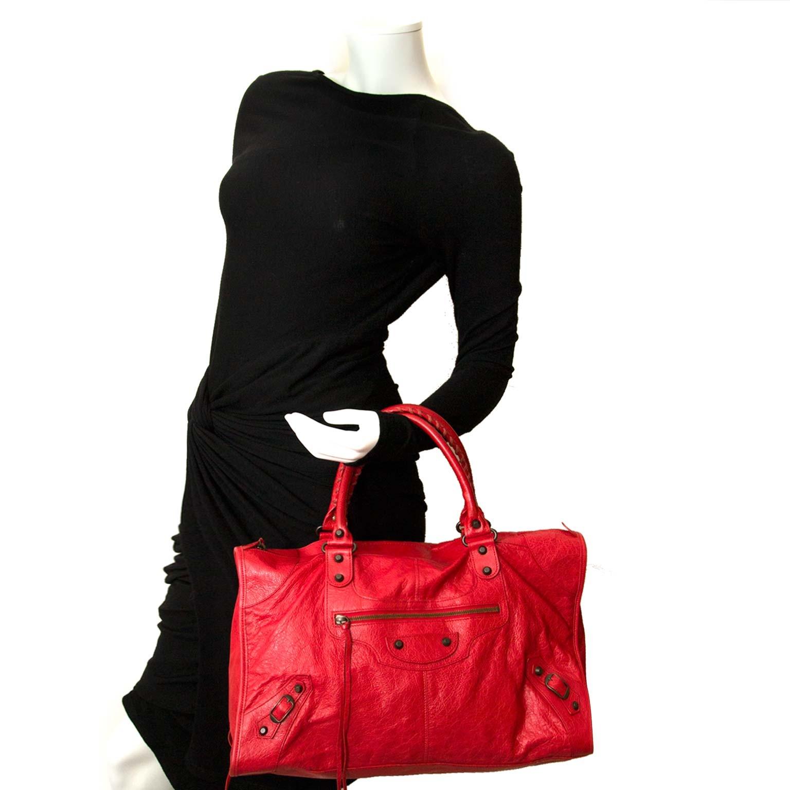 9e8457420a ... balenciaga red leather work bag now for sale at labellov vintage fashion  webshop belgium