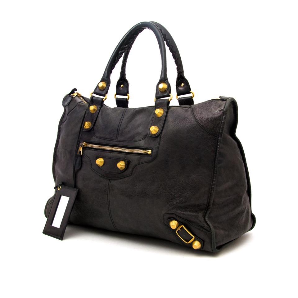 ... shop safe online secondhand designer Balenciaga Weekender Black GHW  Gold Hardware a598eebfeb977