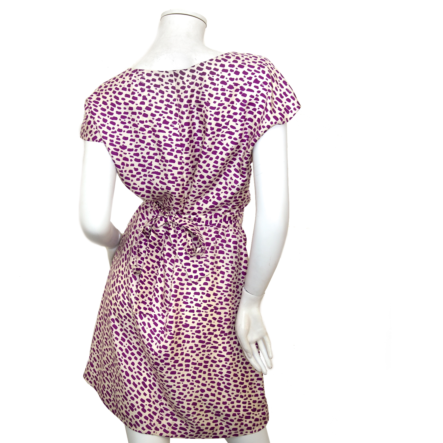 Balenciaga Purple White Pattern Silk Dress - Size 38