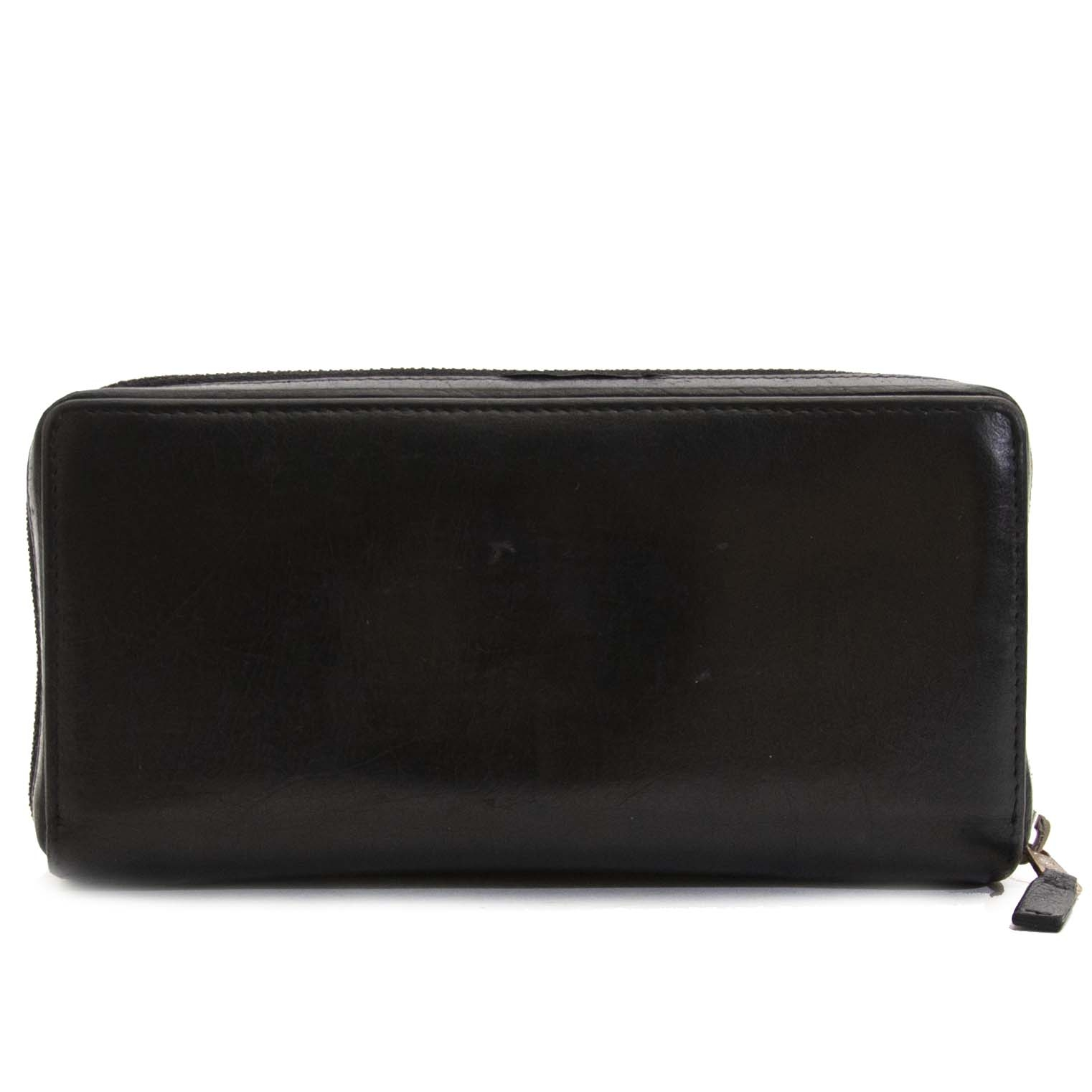 Authentic second hand Balenciaga Silver Screw Wallet Black buy online webshop LabelLOV