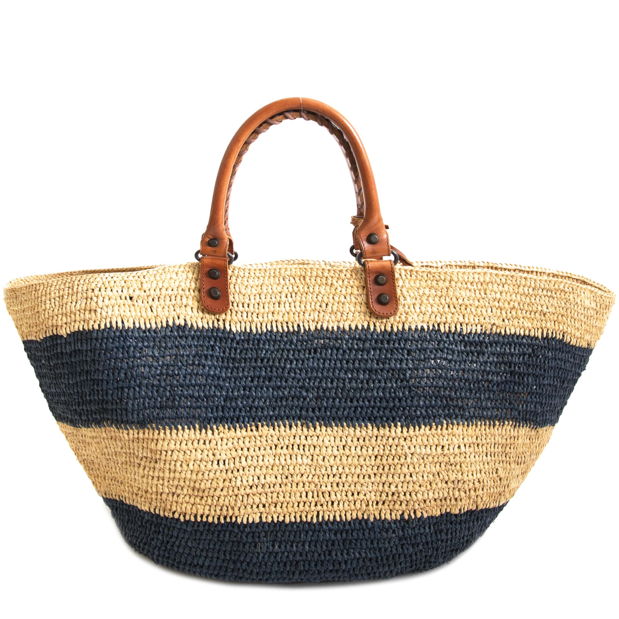 Authentieke tweedehands Balenciaga Straw Tote Bag koop online webshop LabelLOV