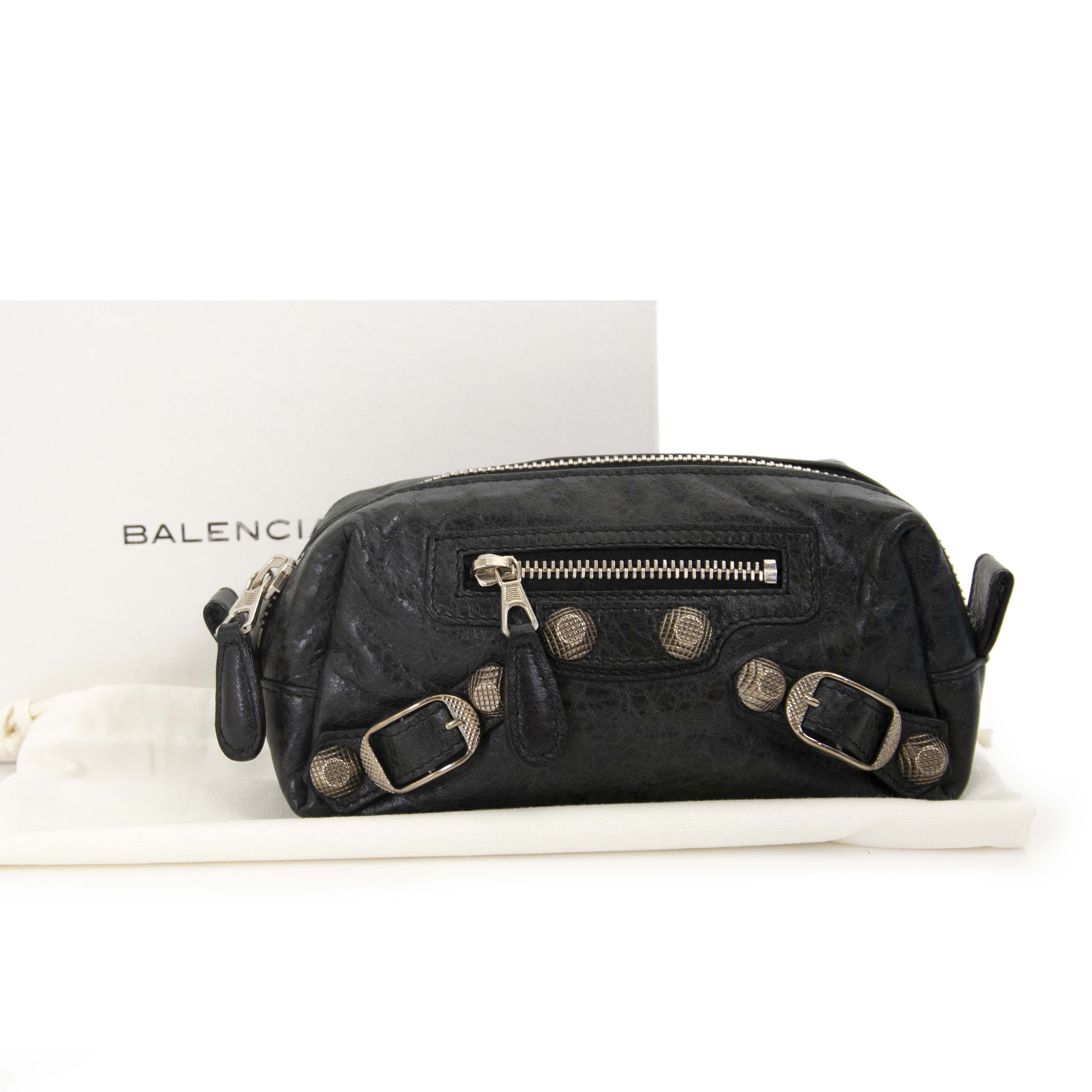 Balenciaga Black Lambskin Leather Giant 12 Pencil Case S now for sale at labellov vintage fashion webshop belgium