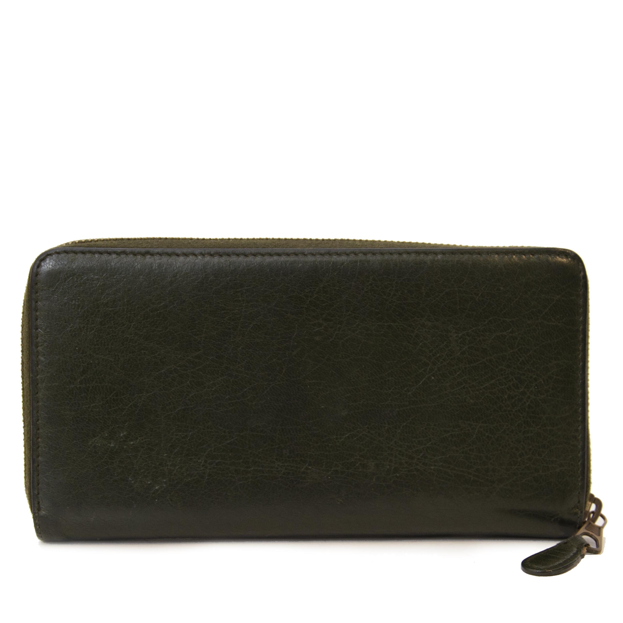 Authentieke tweedehands vintage Balenciaga Green Giant Continental Wallet koop online webshop LabelLOV
