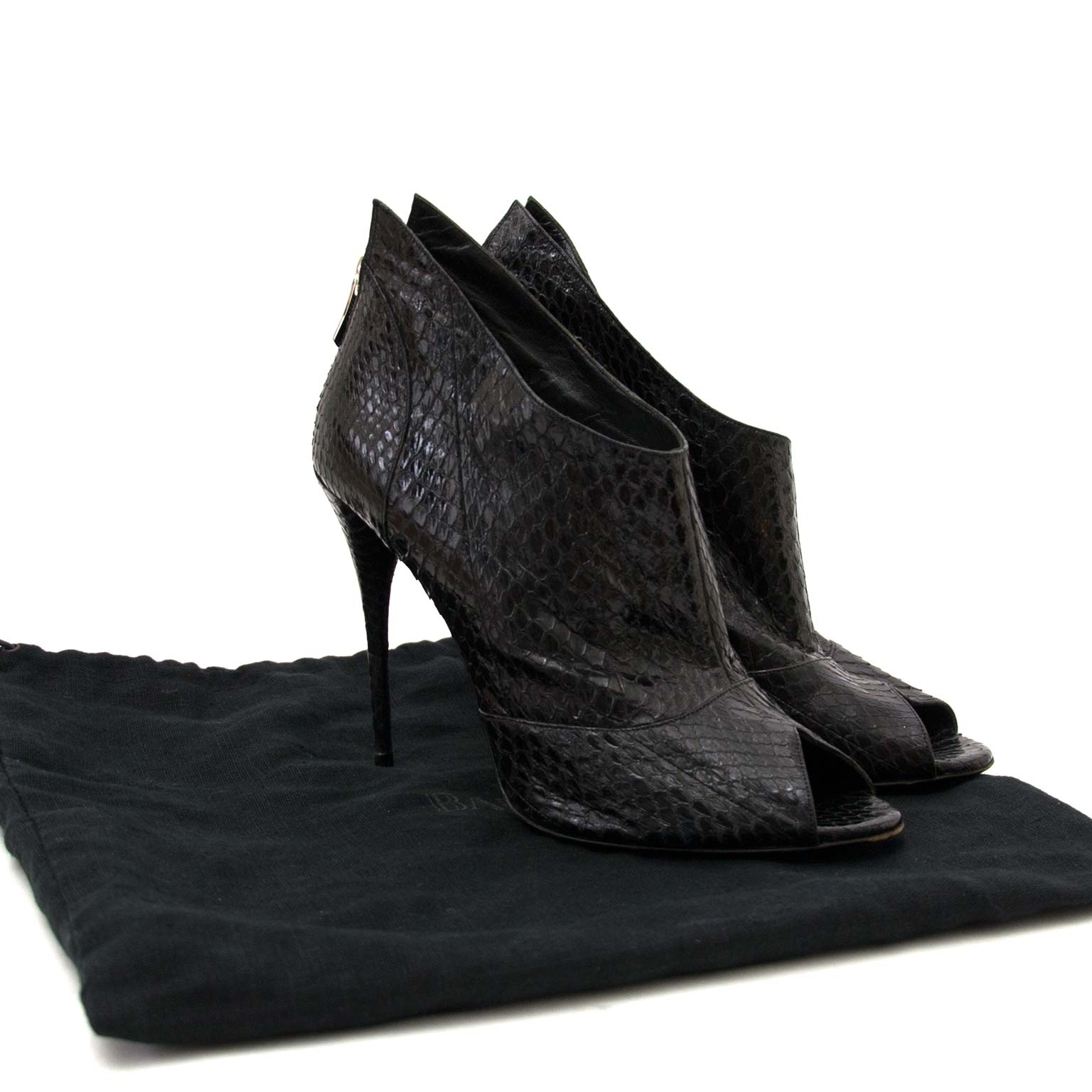 buy Balmain Black Python Peep Toe Heels - Size 41 at labellov antwerp
