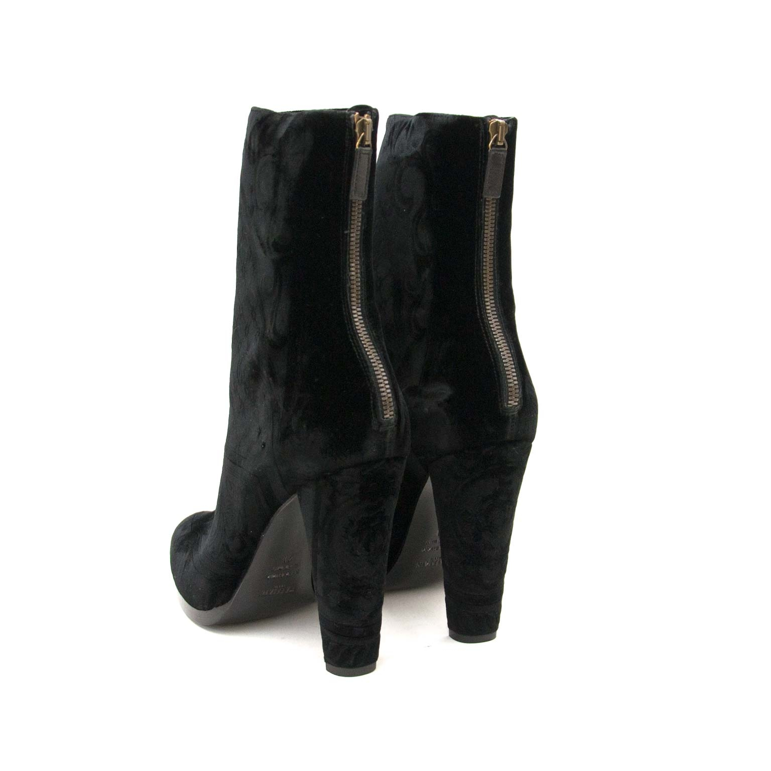 balmain black velvet baroque boots now for sale at labellov vintage fashion webshop belgium